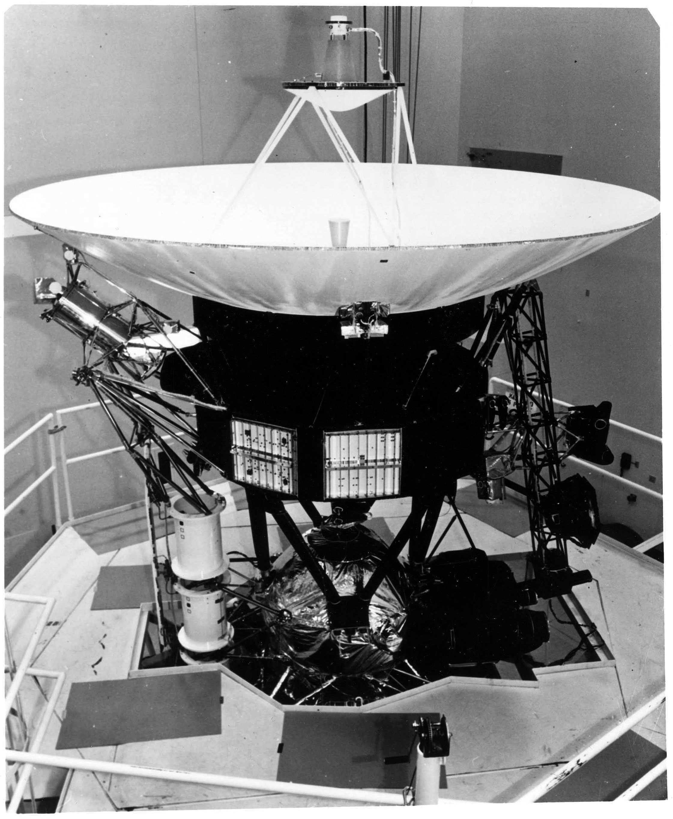 A prototype Voyager spacecraft is shown undergoing vibration tests at NASA's Jet Propulsion Laboratory. Credit: NASA/JPL