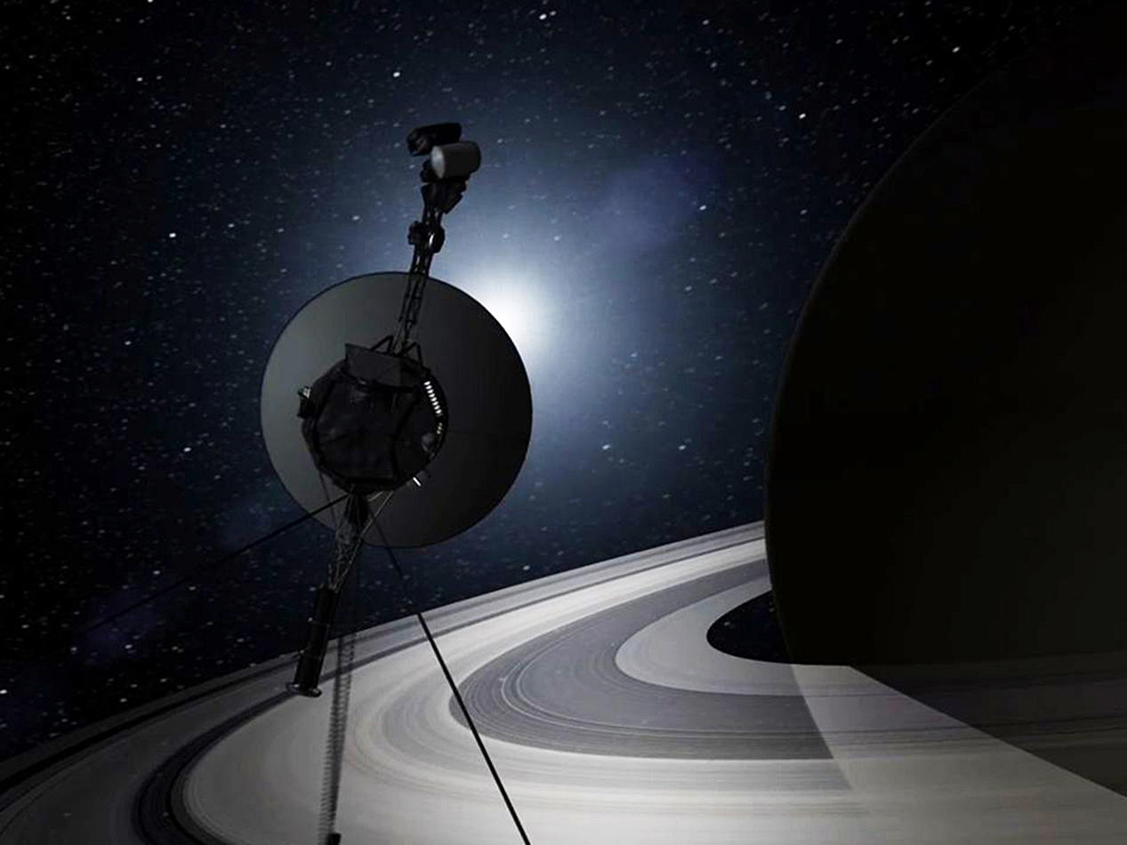 Artist rendering showing the Voyager spacecraft on their grand tour through the solar system. Image: NASA/JPL-Caltech