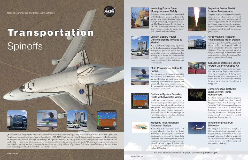nasa spin-off technologies essay Nasa (which is short for the national aeronautics and space administration), is the most influential aeronautics and aerospace research agency on the planet the us government owned agency is at the forefront of next generation technology and has made some pretty awe inspiring discoveries and.