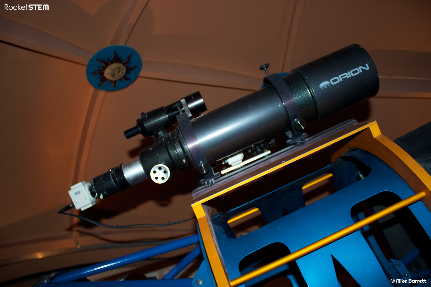 Finder scopes piggy-backed on the main telescope. Photo: Mike Barrett