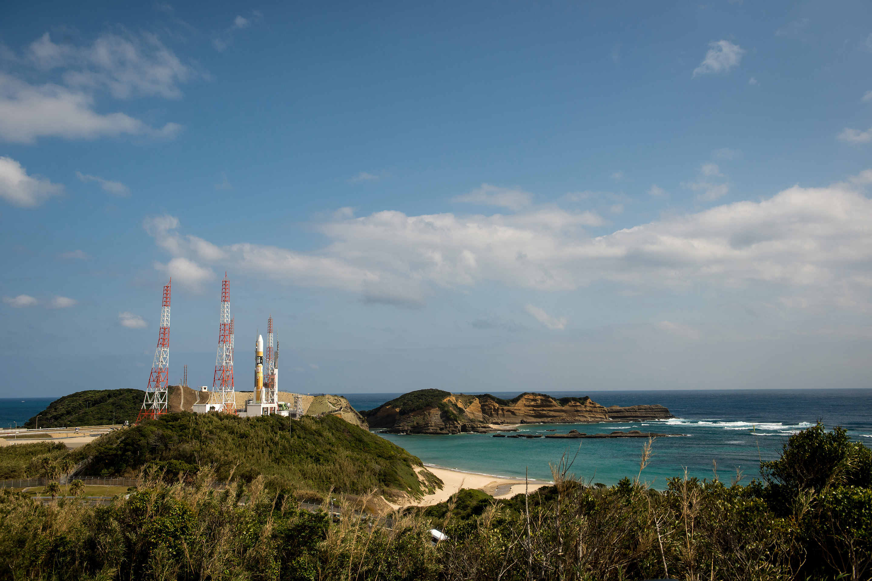 A Japanese H-IIA rocket carrying the NASA-Japan Aerospace Exploration Agency (JAXA), Global Precipitation Measurement (GPM) Core Observatory is seen as it rolls out to launch pad 1 of the Tanegashima Space Center on Feb. 27, 2014. The GPM spacecraft will collect information that unifies data from an international network of satellites to map global rainfall and snowfall every three hours. Photo: NASA/Bill Ingalls