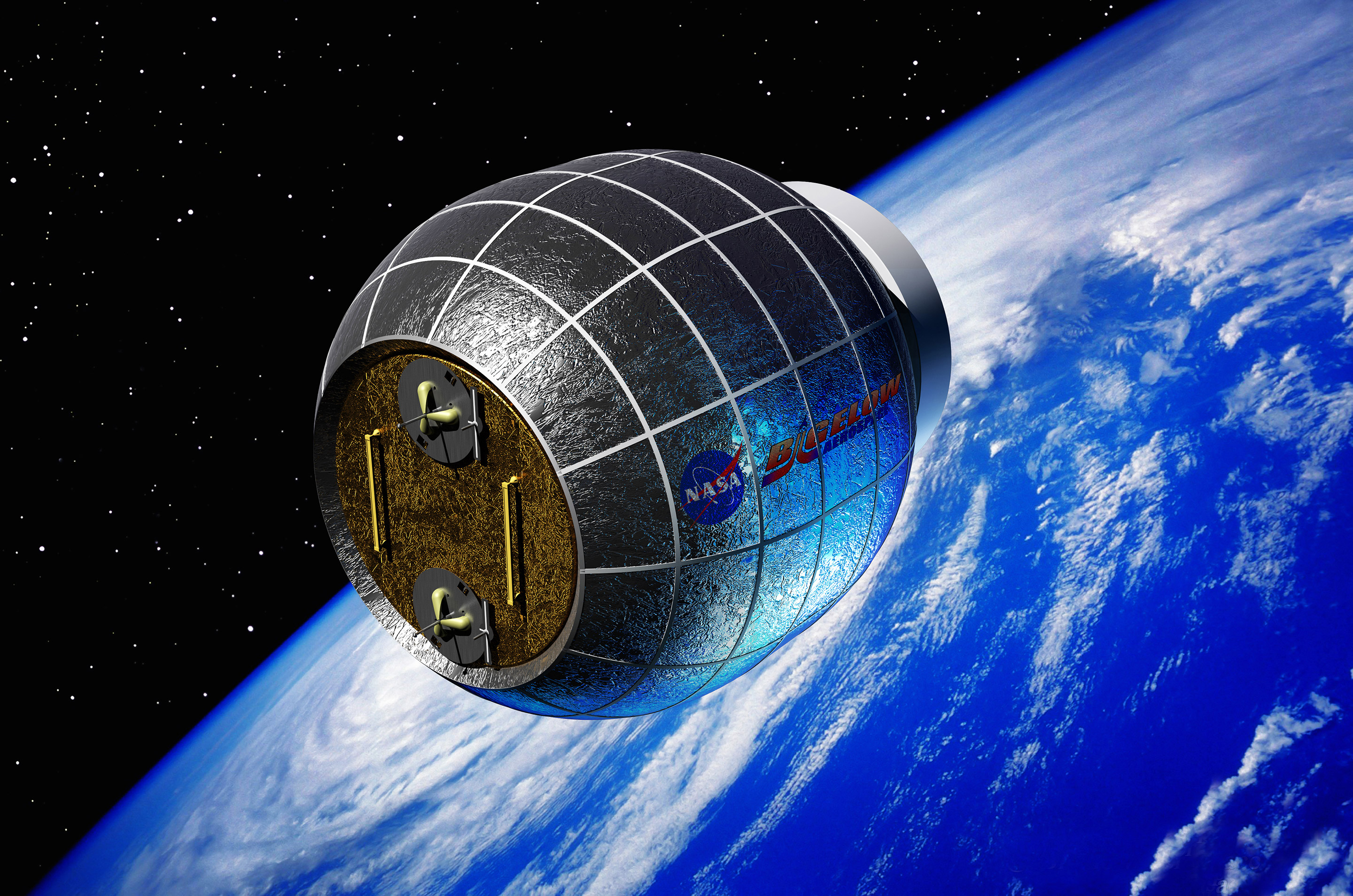 Artist rendering of the The Bigelow Expandable Activity Module (BEAM) which will be sent to the ISS in 2015. Image: Bigelow Aerospace