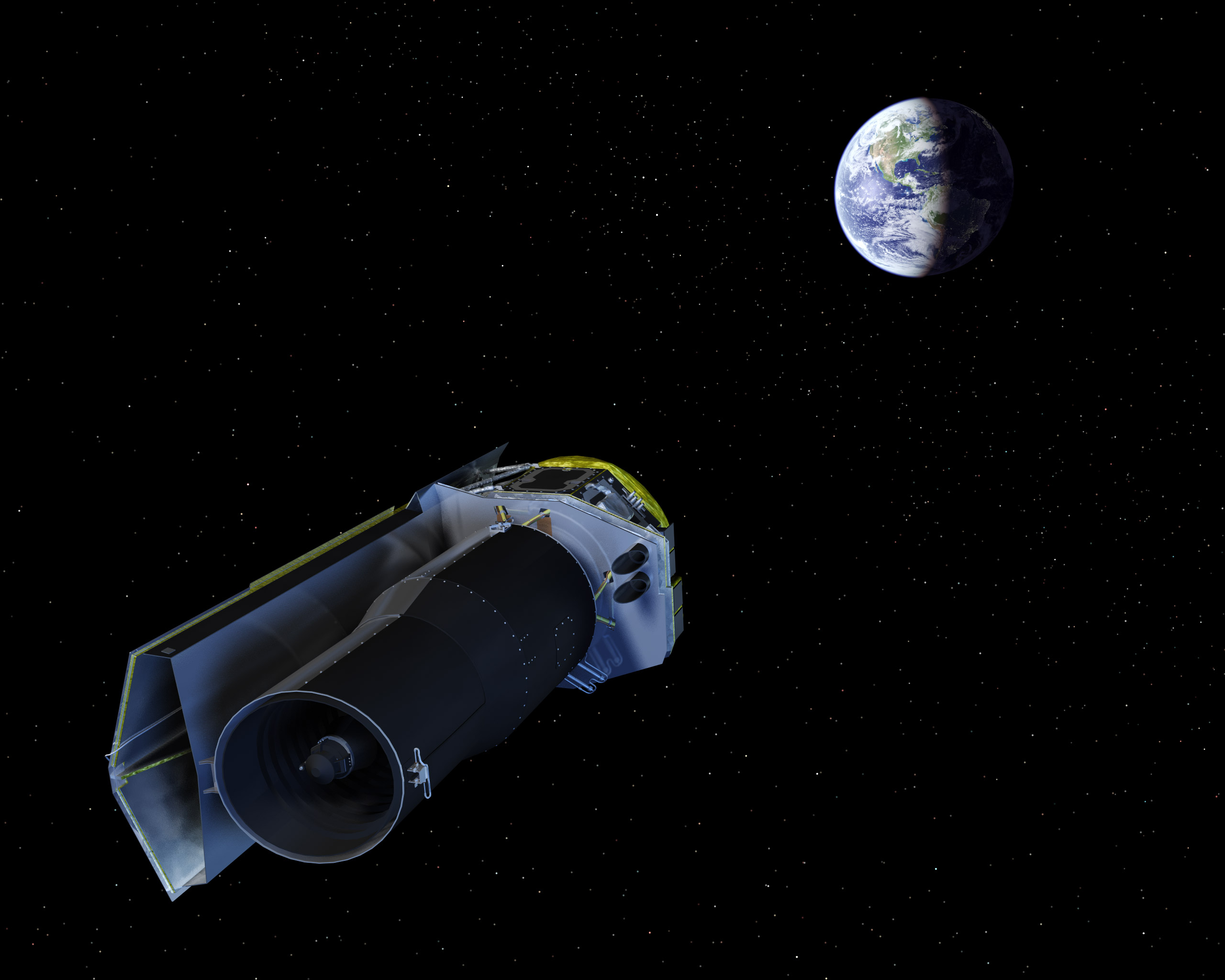 The Spitzer Space Telescope points its high-gain antenna towards the Earth for downlinking recent observations and uplinking new observing instructions. Image: NASA/JPL-Caltech/R. Hurt (SSC)