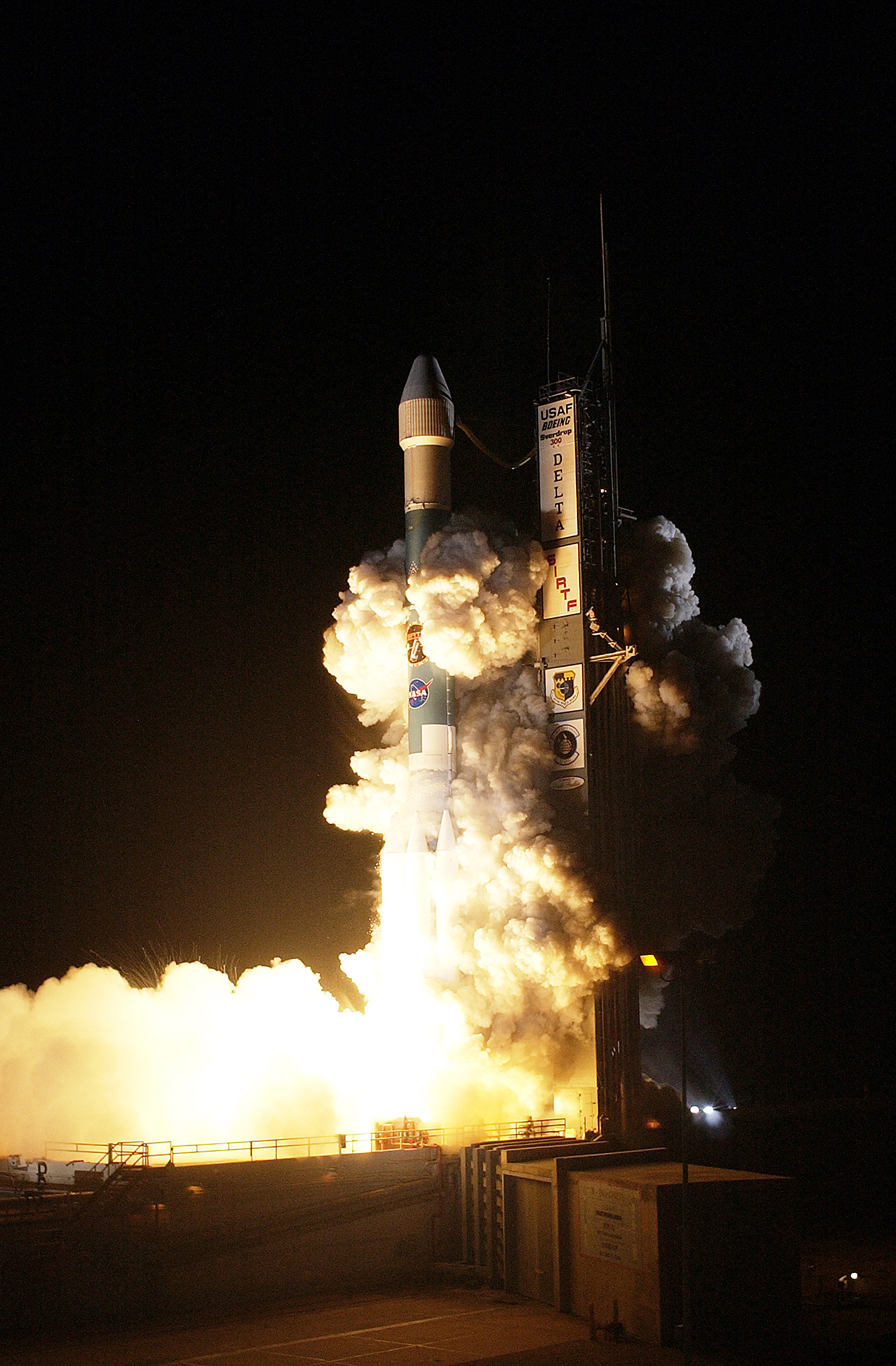 The Spitzer Space Telescope was launched on a Delta II rocket on August 25, 2003 from Cape Canaveral, Florida. Photo: NASA/KSC