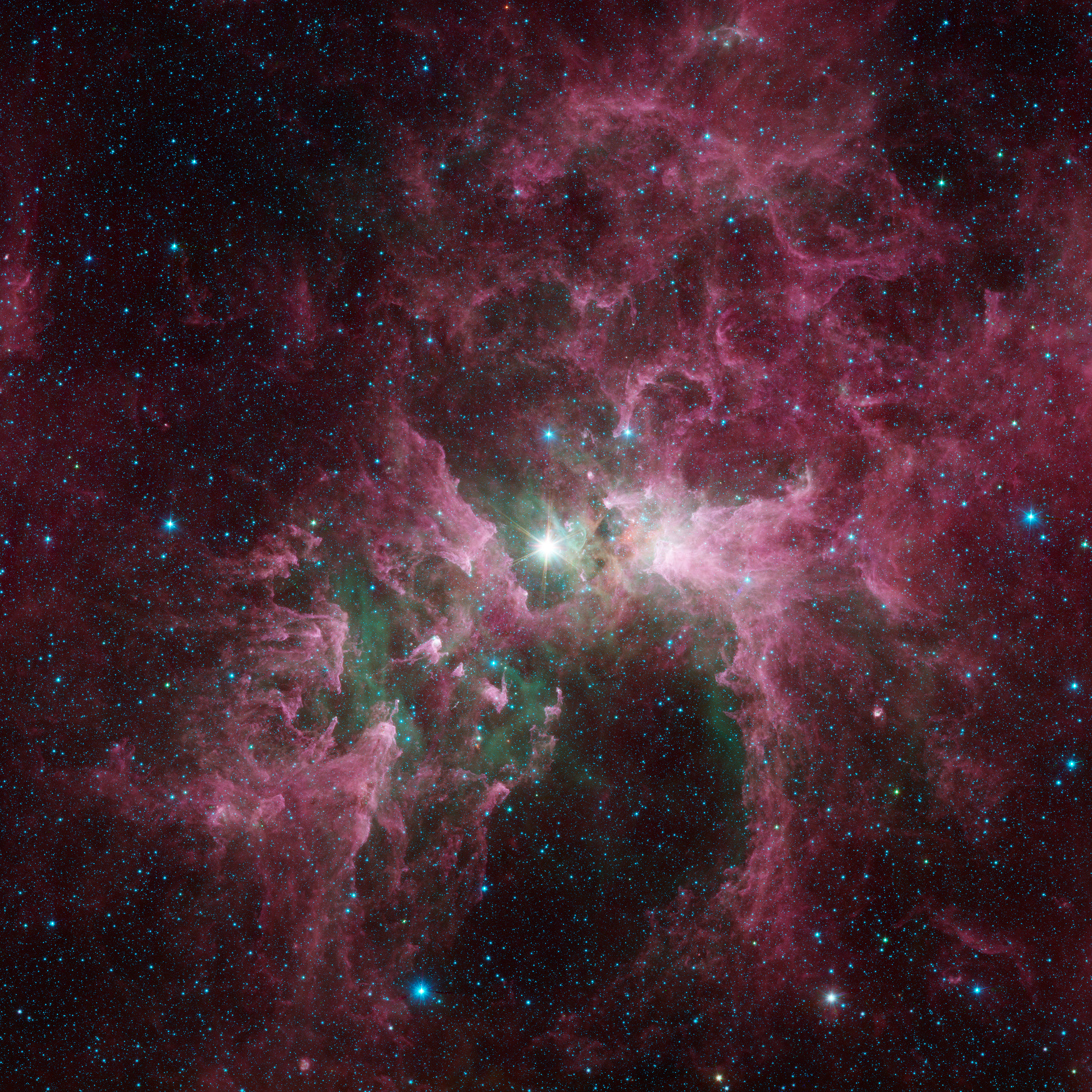 Tortured Clouds of Eta Carinae: Massive stars can wreak havoc on their surroundings, as can be seen in this new view of the Carina Nebula from the Spitzer Space Telescope. Credit: NASA/JPL-Caltech