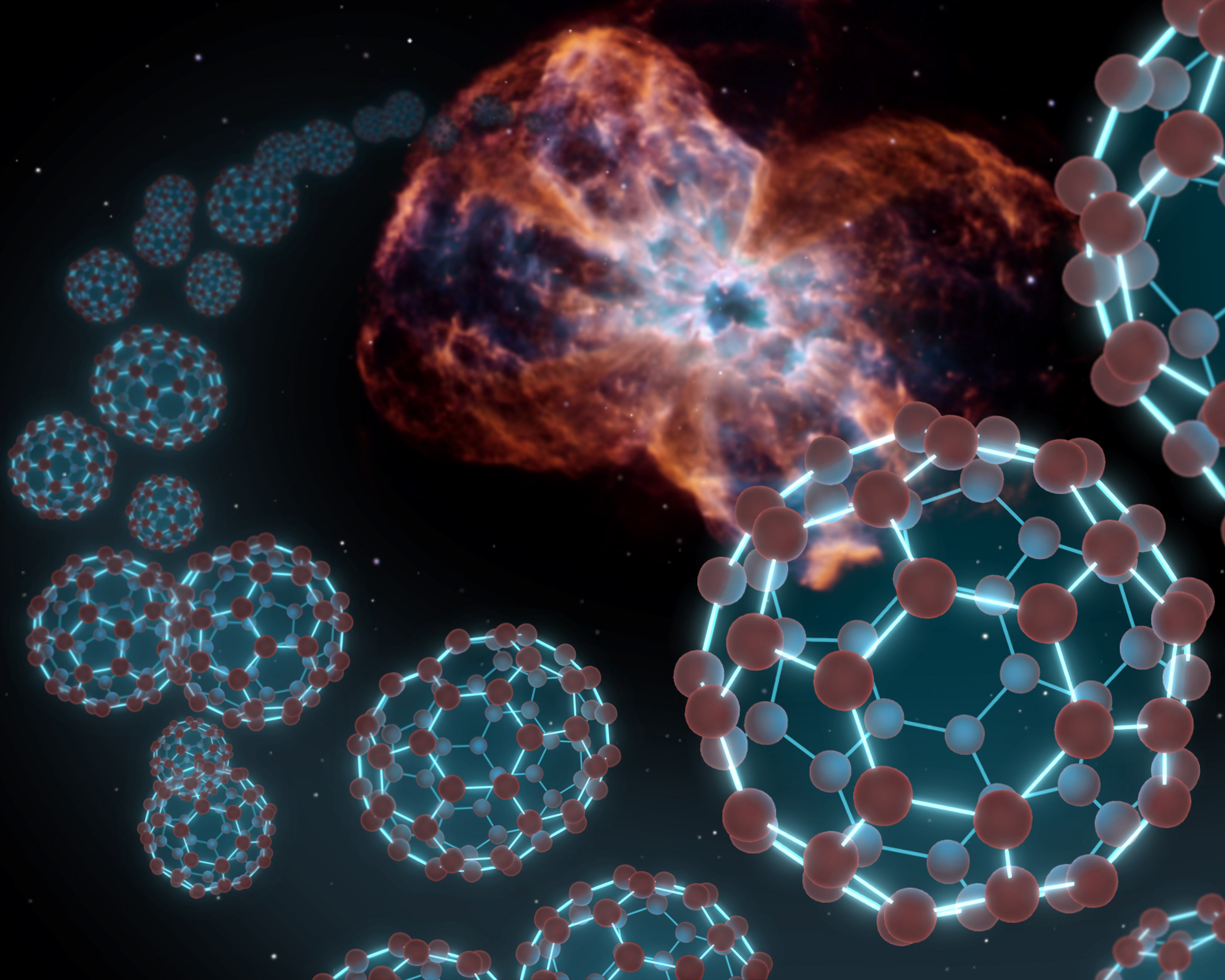 Spitzer has found buckyballs in space, as illustrated by this artist's conception showing the carbon balls coming out from the type of object where they were discovered - a dying star and the material it sheds, known as a planetary nebula. Image: NASA/JPL-Caltech/T. Pyle (SSC)