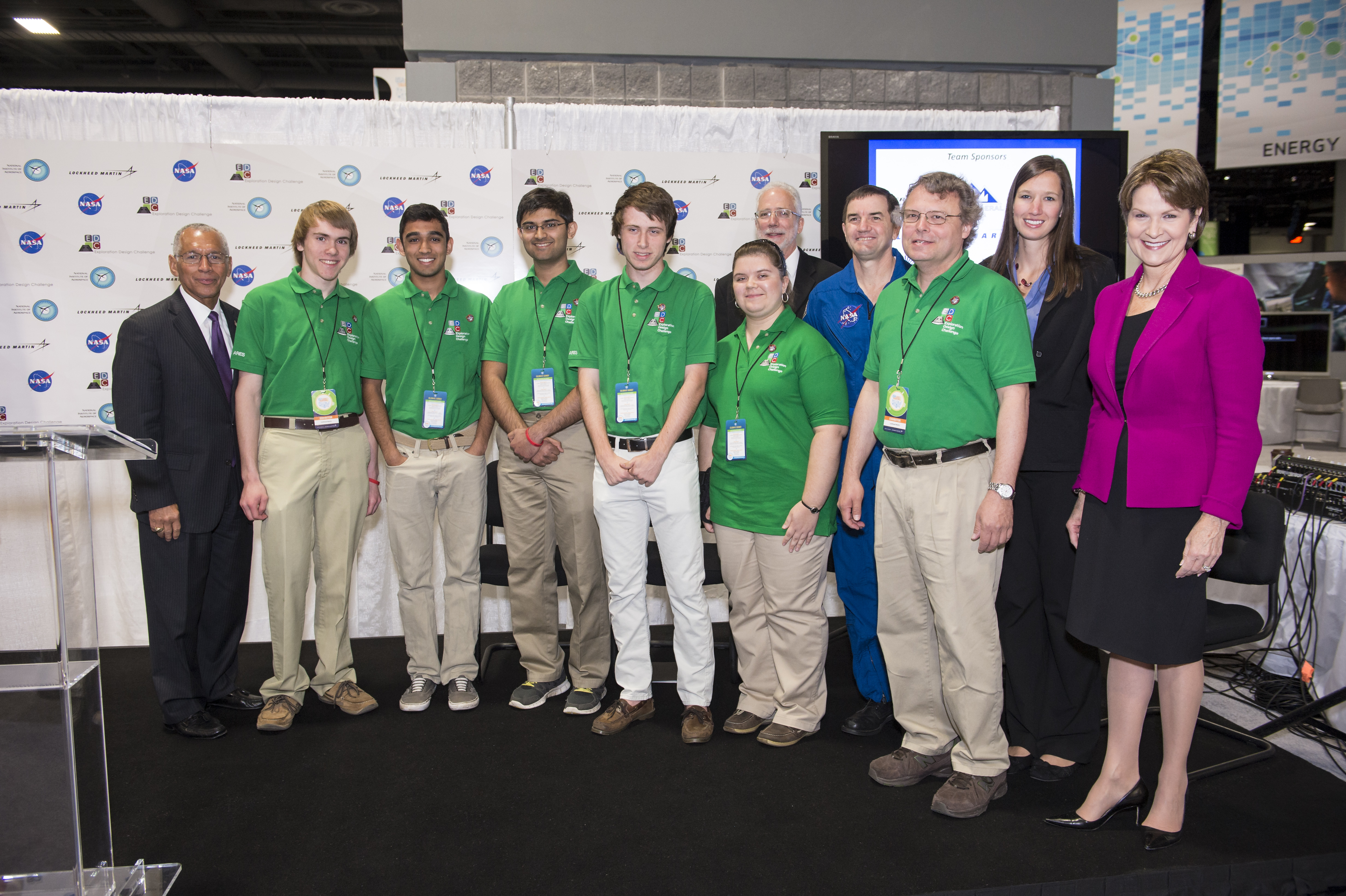 NASA's Administrator, Charles Bolden (left), Marillyn Hewson, President/CEO of Lockheed Martin (right), and astronaut Rex Walheim (back) stand with Team ARES, from the Governors School for Science and Technology in Hampton, Va. , winners of the Exploration Design Challenge high school competition. Photo: NASA