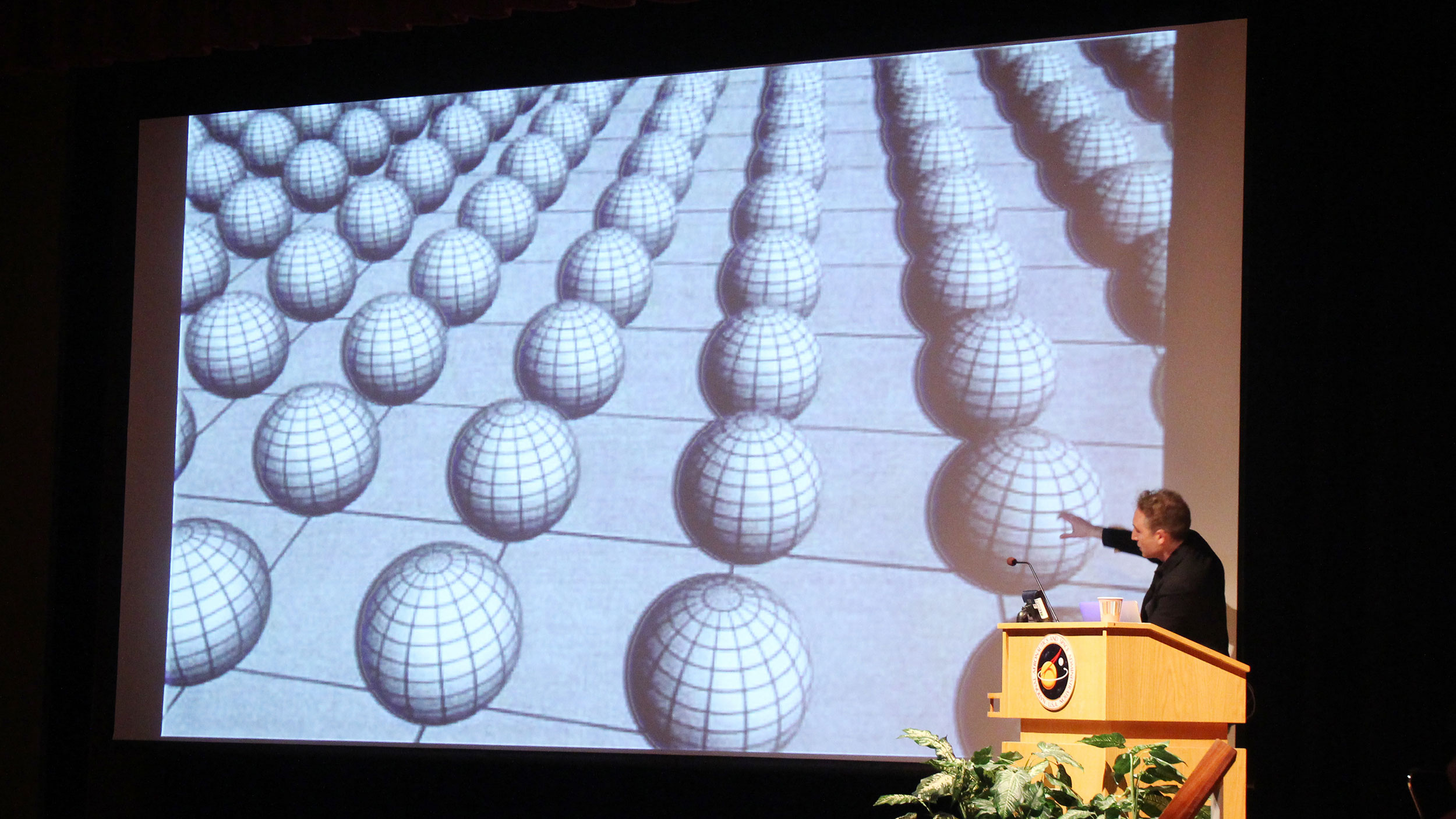 """Earlier this year, Brian Greene presented """"Where Do We Stand with String Theory"""" in the John Bahcall Lecture at NASA's Goddard Space Flight Center. Credit: NASA/Goddard/Wade Sisler"""