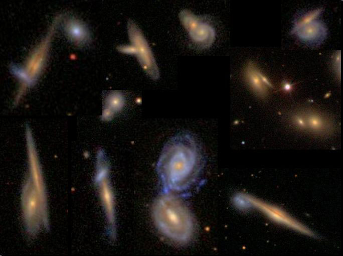 Image #4: A montage of volunteers' classified overlapping galaxies. Credit: Galaxy Zoo Forum