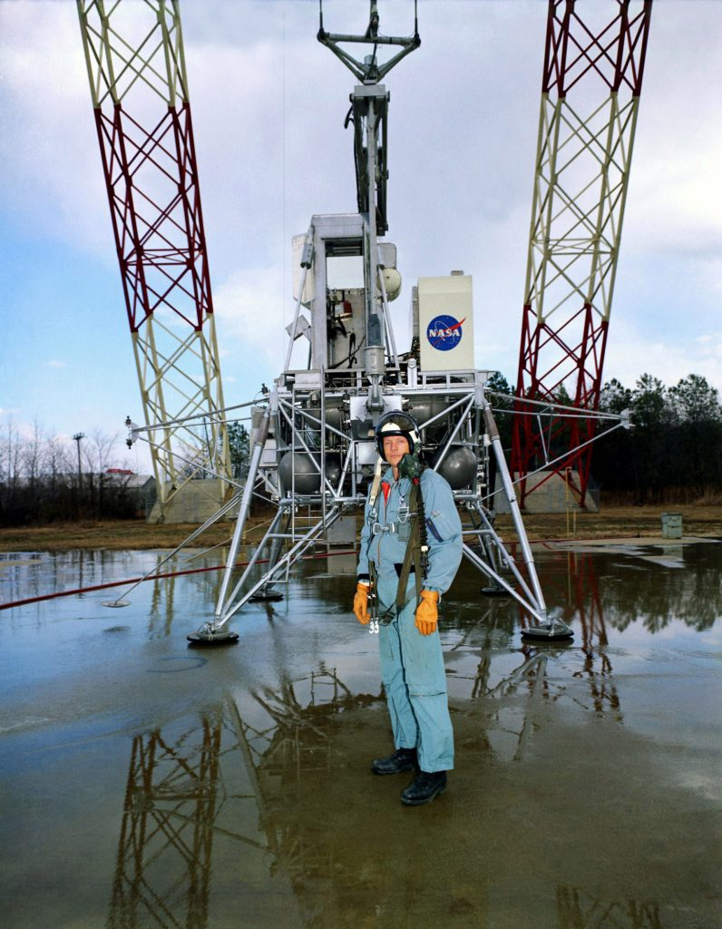 Neil Armstrong stands in front of the lunar lander trainer at Langley on February 12, 1969.