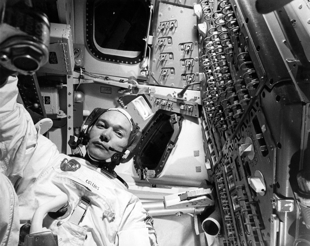 Michael Collins practicing in the CM simulator on June 16, 1969.