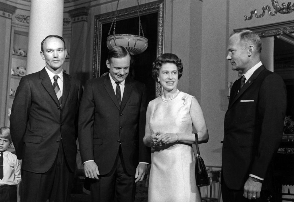 British Queen Elizabeth II with the Apollo 11 astronauts at Buckingham Palace in Great Britian during the astronauts' world tour in 1970.
