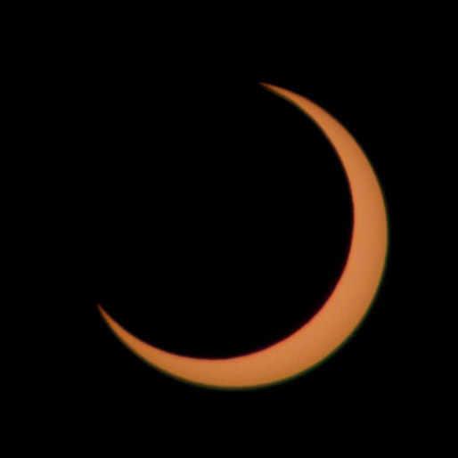 Using a solar filter this annular eclipse was shot using a Nikon camera with a 70-200mm zoom lens, the mountains of the Moon can be seen at the edges backlit by the Sun. Credit: Mike Barrett