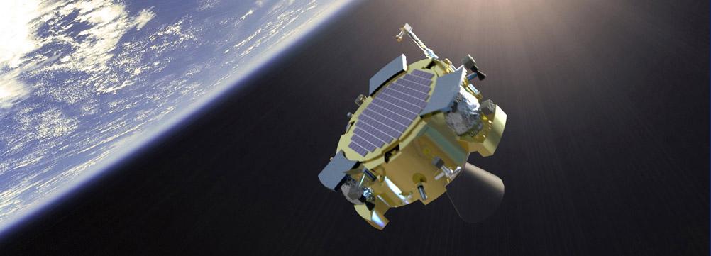 The Lunar Lion spacecraft depicted as it leaves Earth's orbit. Credit: PSU Lunar Lion Team