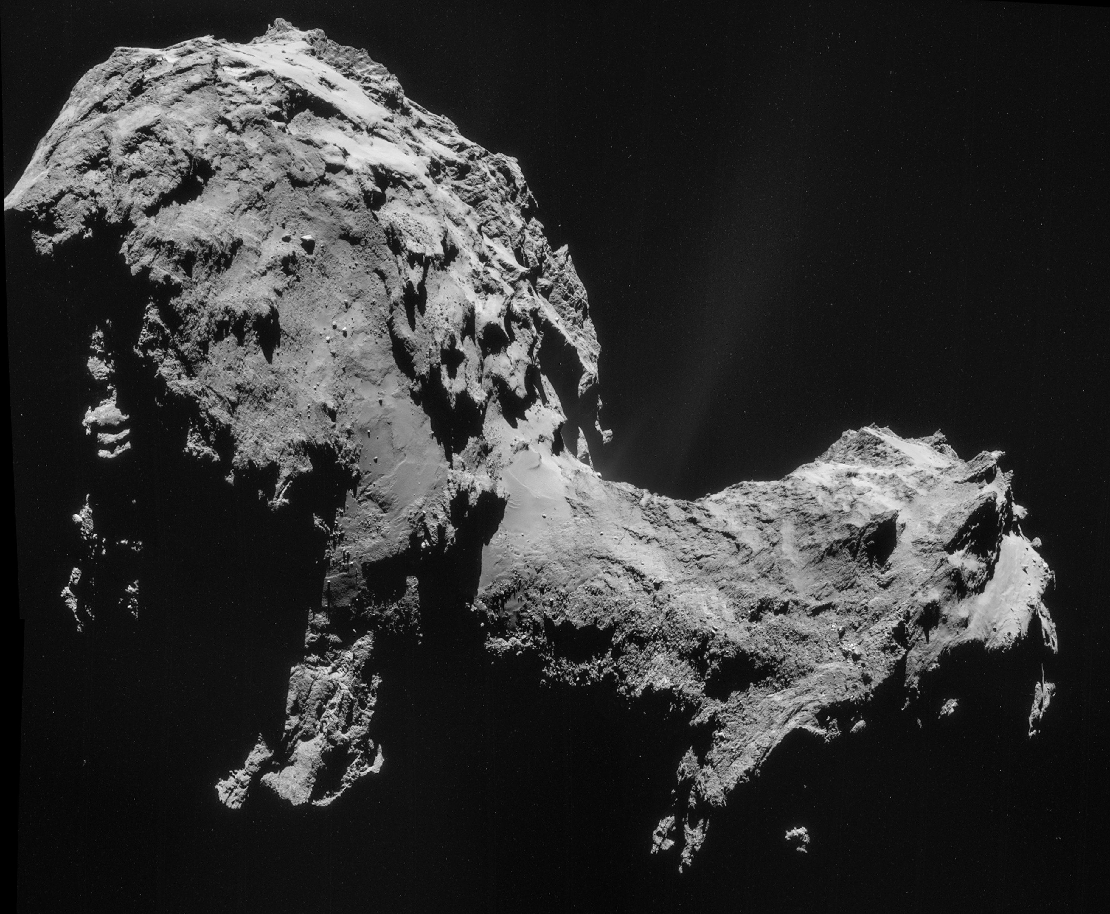 Four-image NAVCAM mosaic of Comet 67P/Churyumov-Gerasimenko, using images taken on 19 September 2014 when Rosetta was 28.6 km from the comet. Credit: ESA/Rosetta/NAVCAM