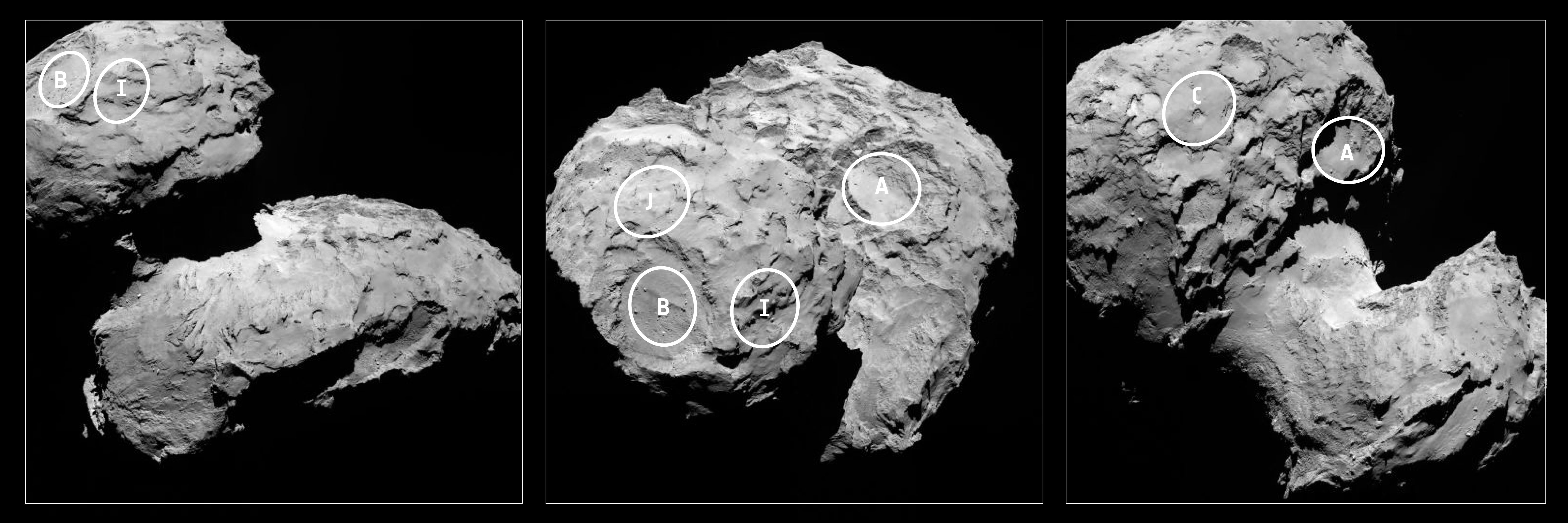 Five candidate sites (from an initial selection of 10 possible sites) were identified for landing of the Philae probe. The approximate locations of the five regions are marked on these OSIRIS narrow-angle camera images taken on 16 August from a distance of about 100 km. Credit: ESA/Rosetta/MPS for OSIRIS Team