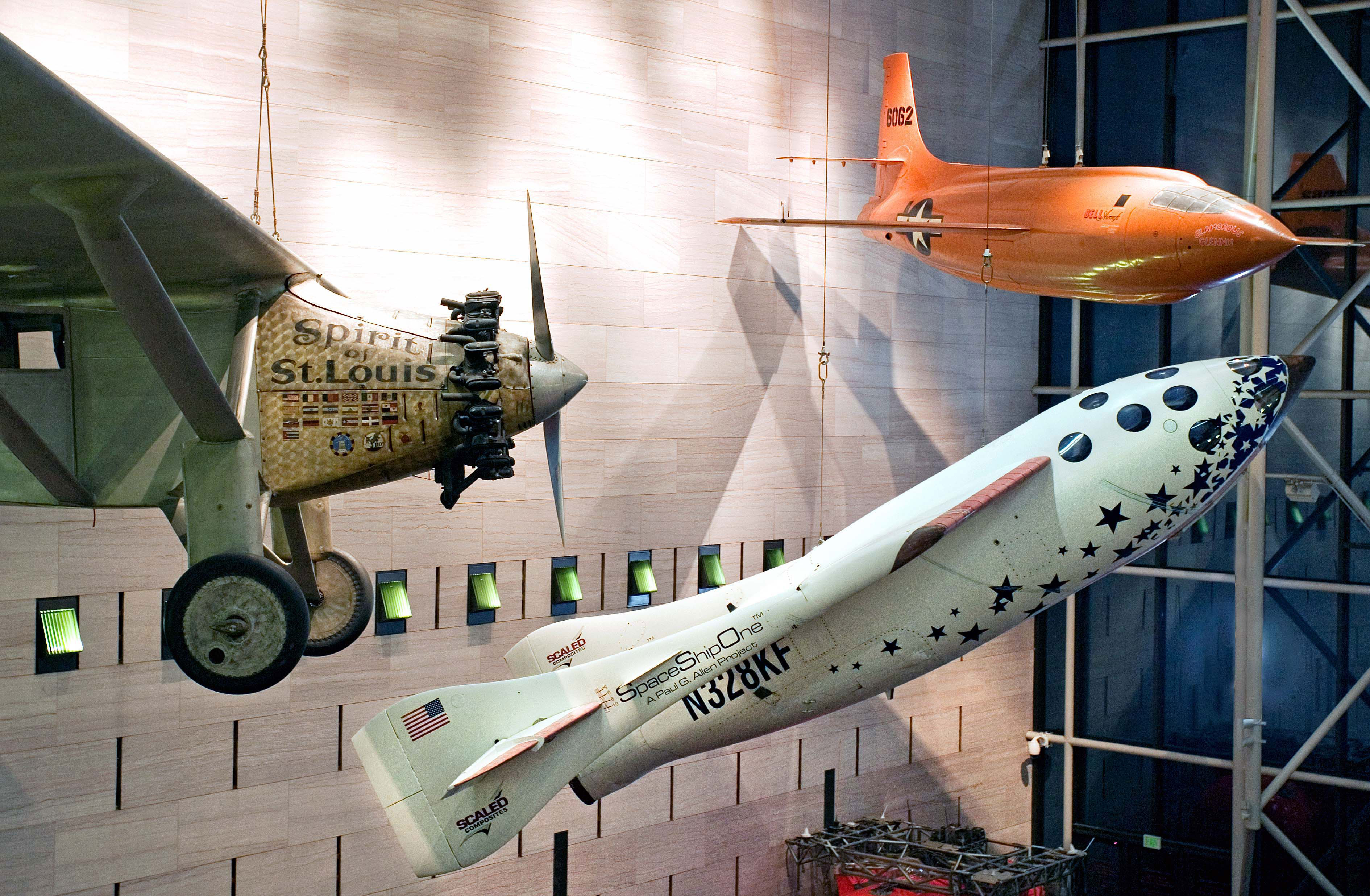 Aviation Treasures: Spirit of St. Louis, SpaceShipOne and the Bell X-1. Credit: Eric Long/NASM Smithsonian Institution