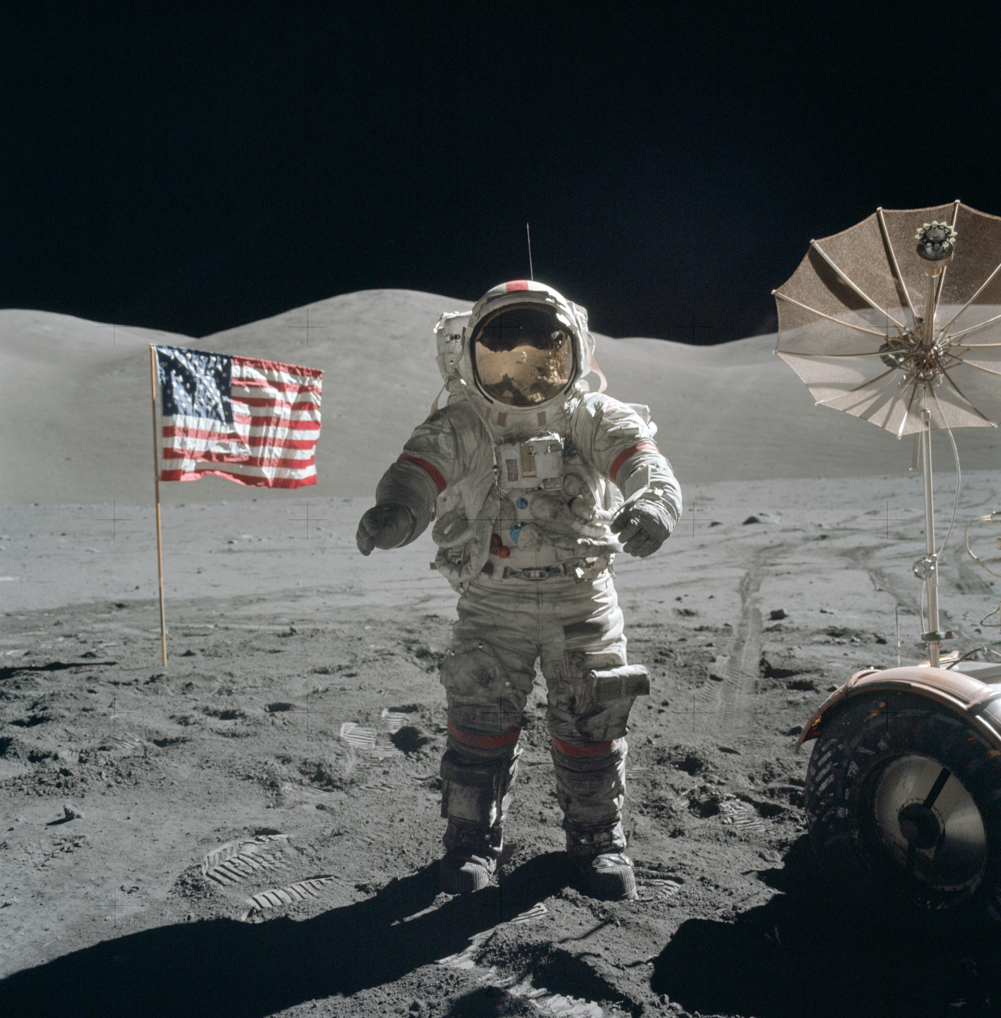 Gene Cernan exploring Taurus Littrow on the Moon. Credit: NASA/Jack Schmitt