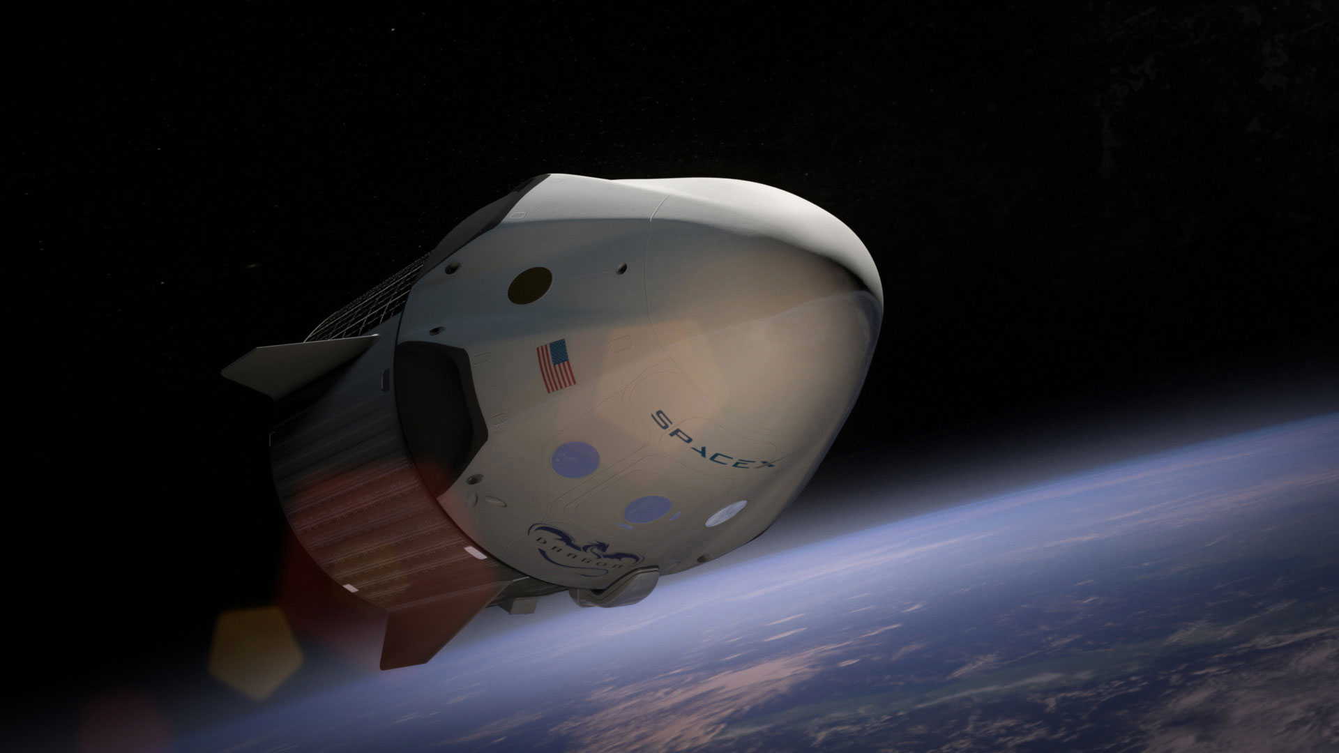 An artist's rendering of the SpaceX Dragon V2 capsule and service module in orbit and heading to the International Space Station. Credit: SpaceX