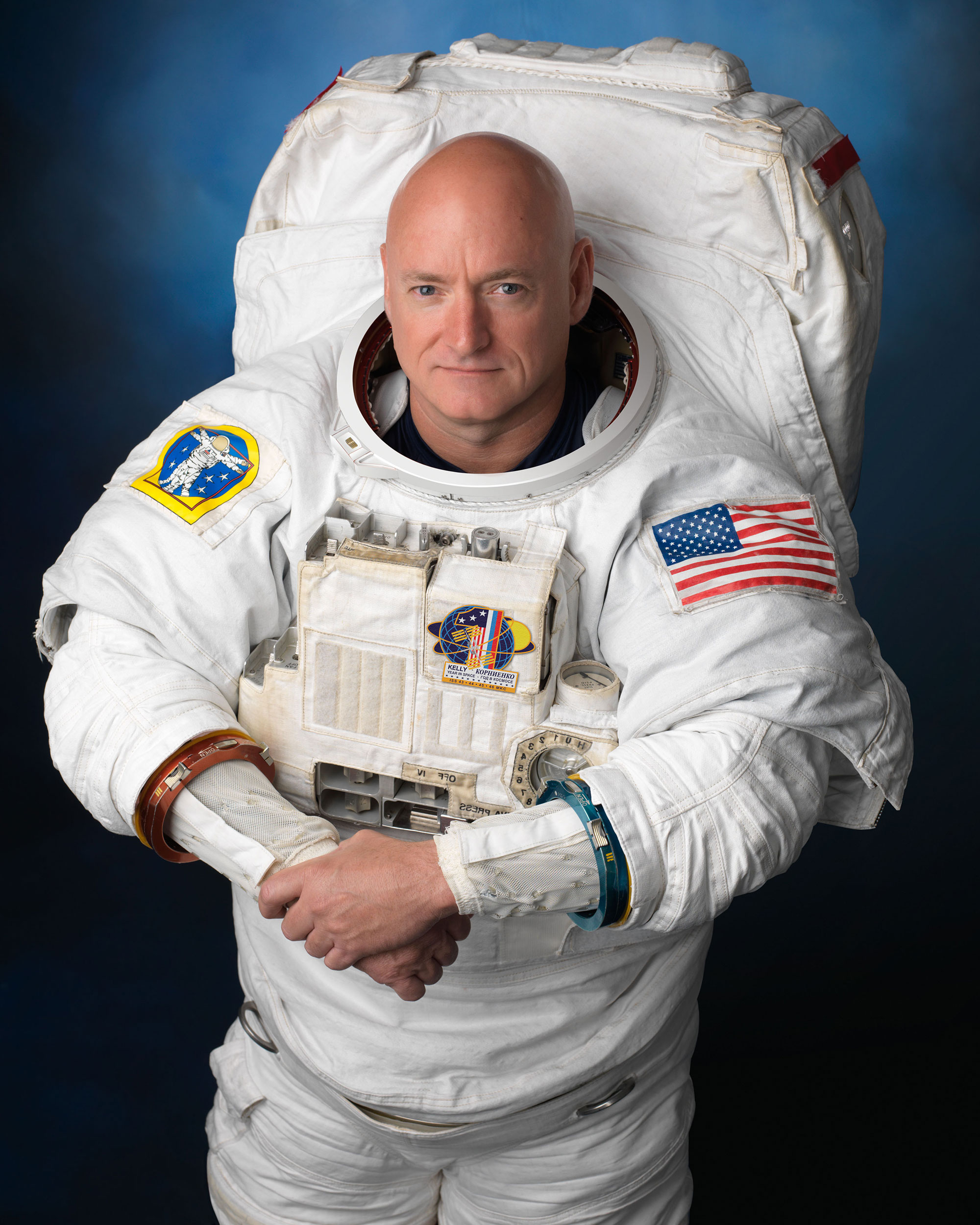 NASA astronaut Scott Kelly, wearing an Extravehicular Mobility Unit (EMU) spacesuit. Credit: NASA/Robert Markowitz