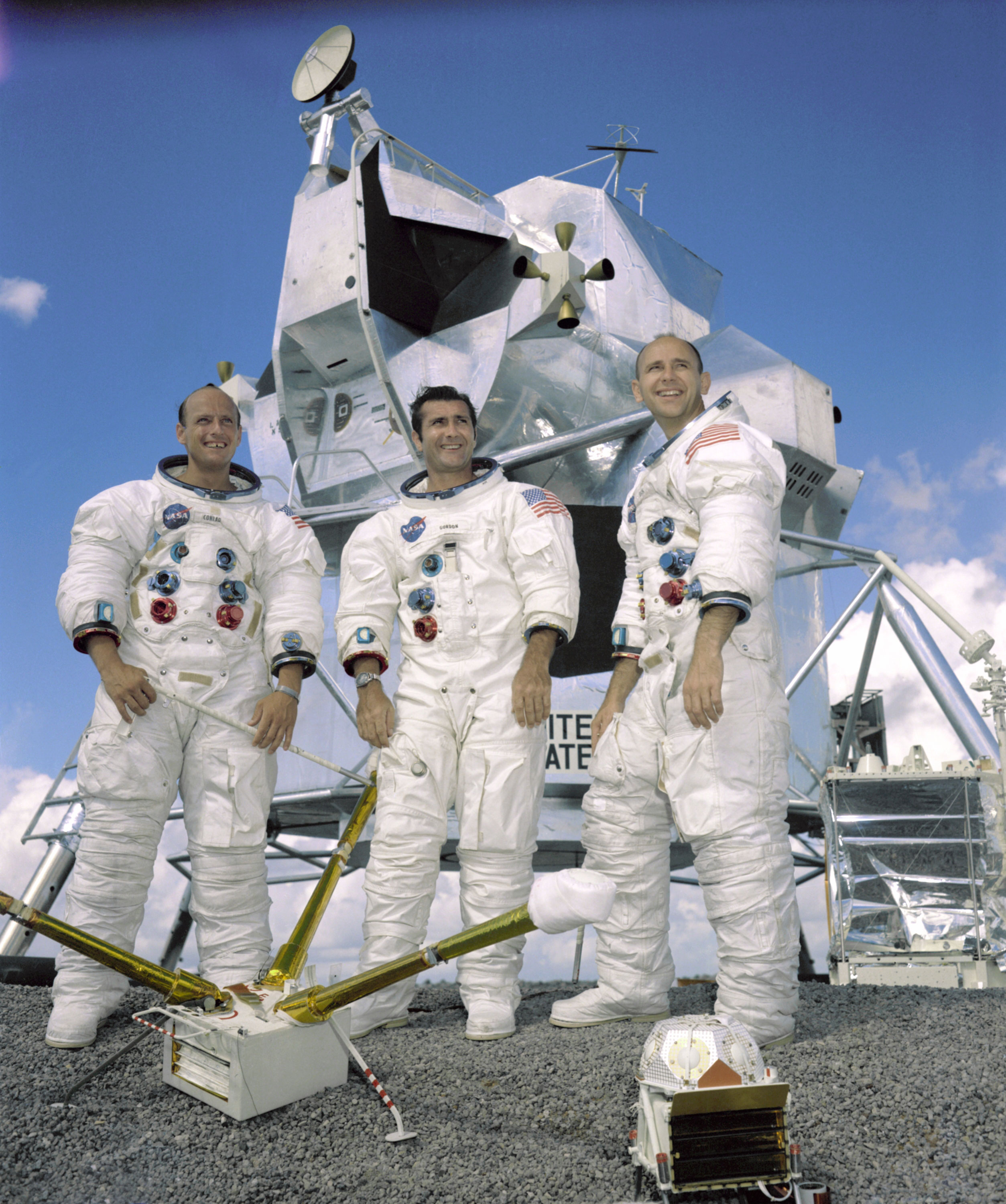 "Crew of the Apollo 12 mission (from left): Charles ""Pete"" Conrad Jr., Richard Gordon Jr., and Alan Bean. Credit: NASA"