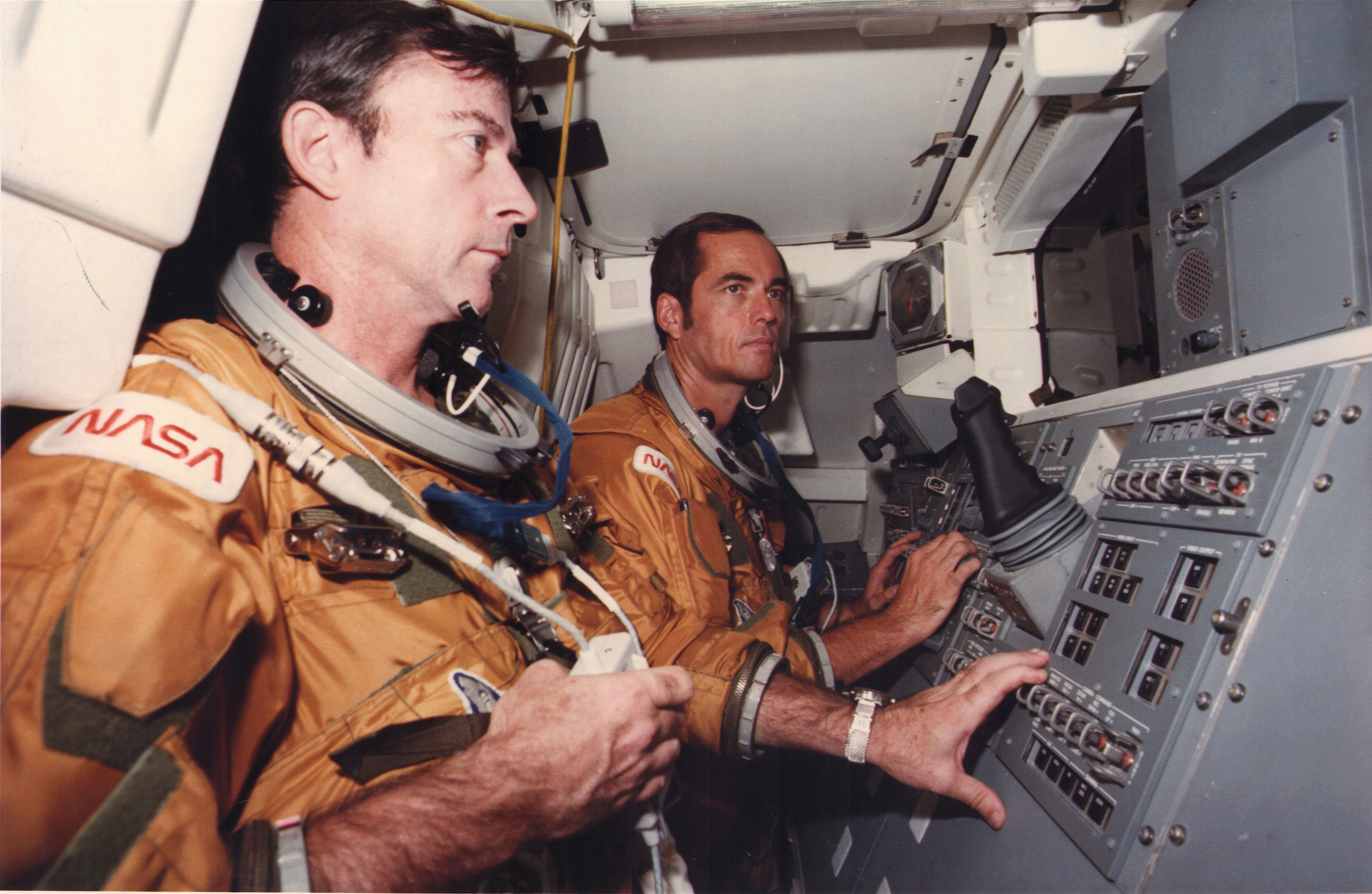 Columbia's gutsy twosome on the maiden voyage of a shuttle orbiter: Commander JohnYoung (left) and Pilot Robert Crippen. Credit: NASA
