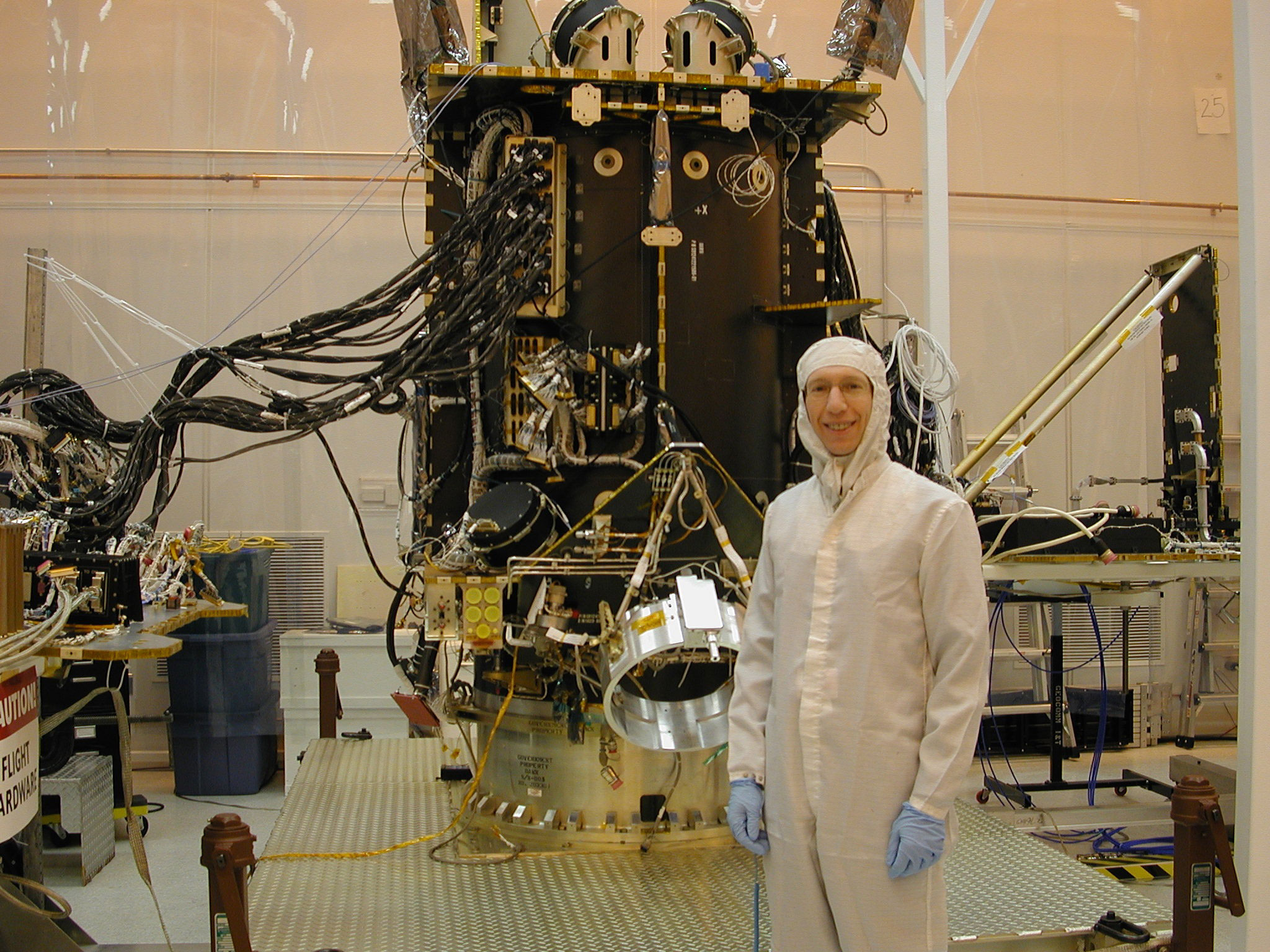 Dr. Marc Rayman, Chief Engineer and Mission Director at JPL, with Dawn during assembly. Credit: NASA