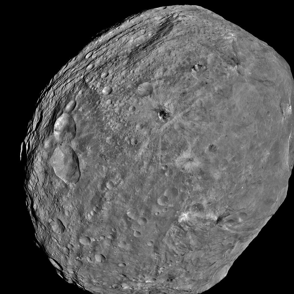 Vesta's battered surface as imaged by Dawn's framing cameras (full mosaic). Credit: NASA/JPL-Caltech/UCLA/MPS/DLR/IDA
