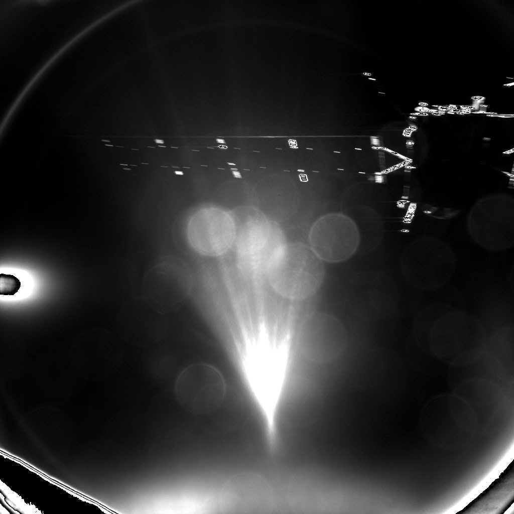 Rosetta's lander Philae took this parting shot of its mothership shortly after separation. The image was taken with the lander's CIVA-P imaging system and captures one of Rosetta's 14 metre-long solar arrays. It was stored onboard the lander until the radio link was established with Rosetta around two hours after separation, and then relayed to Earth. Credit: ESA/Rosetta/Philae/CIVA