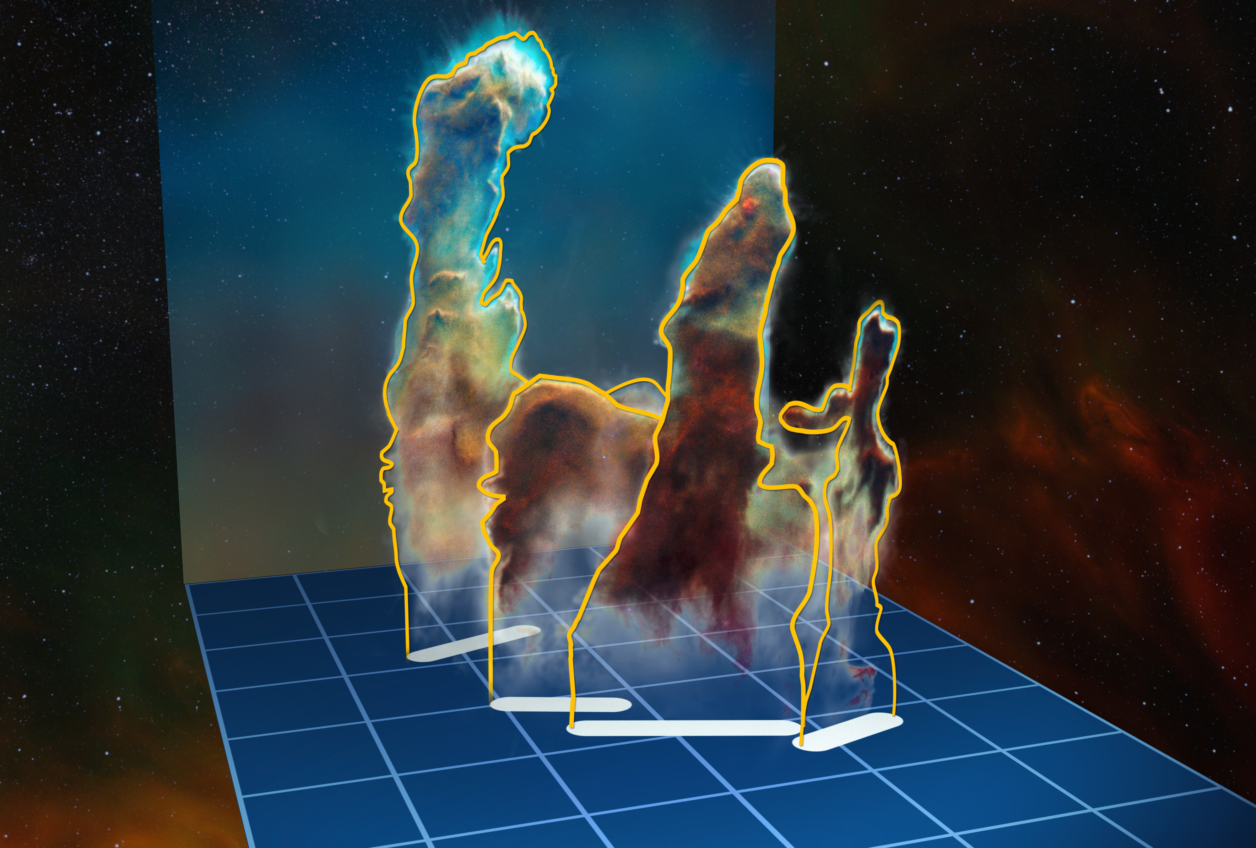 This visualisation of the three-dimensional structure of the Pillars of Creation within the star formation region Messier 16 (also called the Eagle Nebula) is based on new observations of the object using the MUSE instrument on ESO's Very Large Telescope in Chile. The pillars actually consist of several distinct pieces on either side of the star cluster NGC 6611. In this illustration, the relative distance between the pillars along the line of sight is not to scale. Credit: ESO/M. Kornmesser