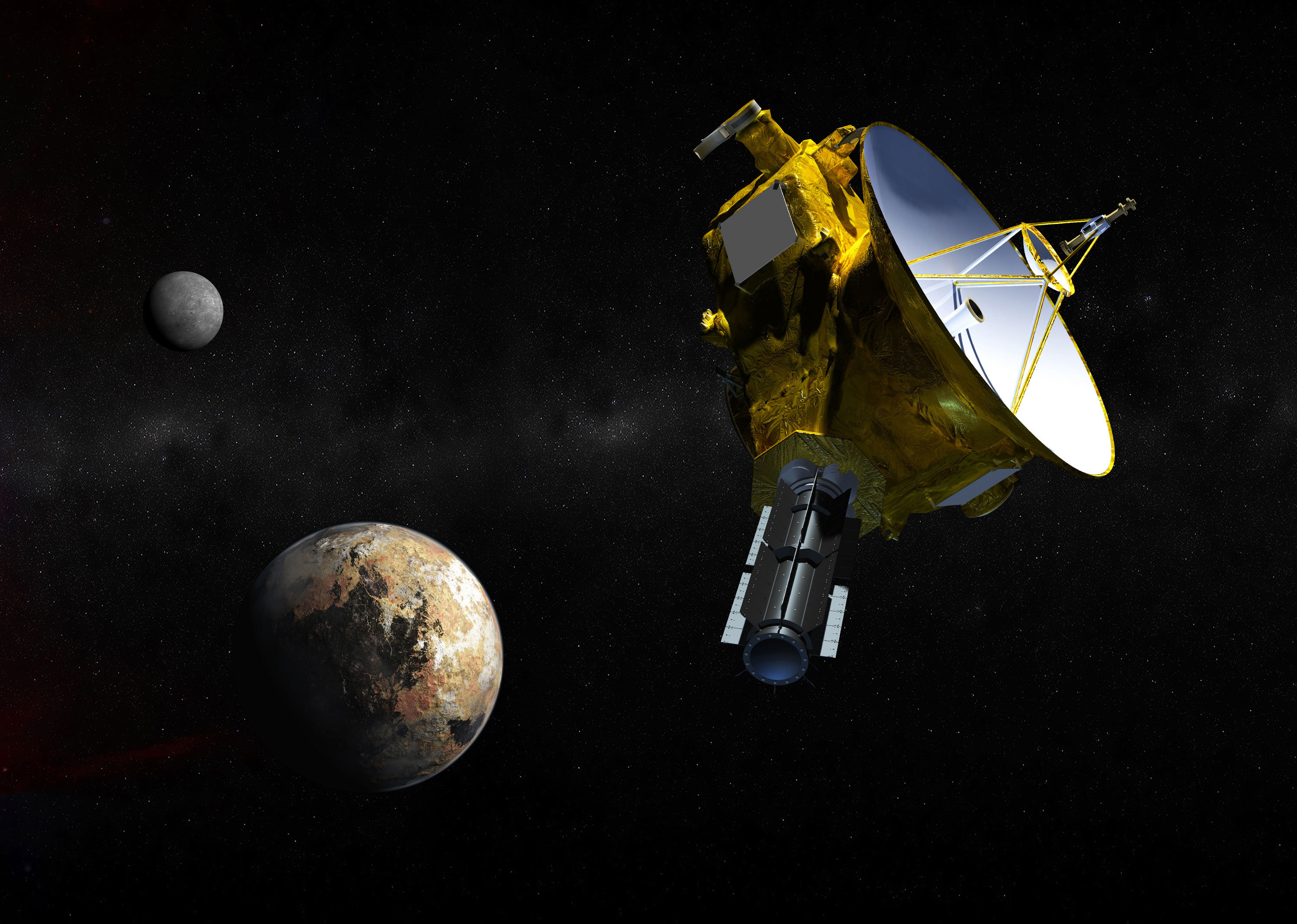 Artist's concept of the New Horizons spacecraft as it approaches Pluto. The craft will study the global geology and geomorphology of Pluto and large moon Charon, map their surface compositions and temperatures, and examine Pluto's atmosphere in detail. Credit: Johns Hopkins University Applied Physics Laboratory/Southwest Research Institute (JHUAPL/SwRI)
