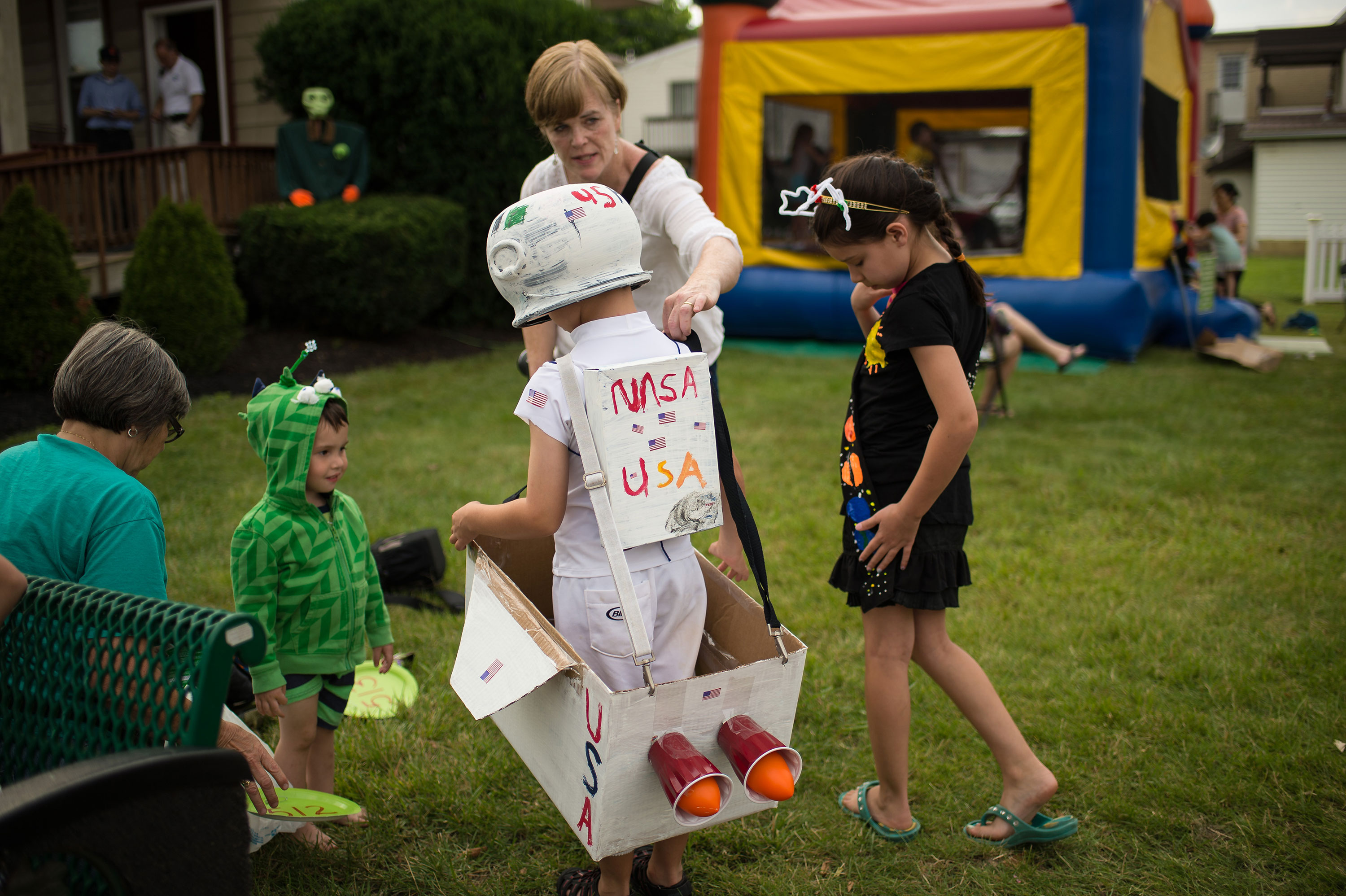 There were plenty of space-themed outfits at the Mars New Year's celebration Friday, June 19, 2015, in Mars, Pennsylvania. Credit: NASA/Bill Ingalls