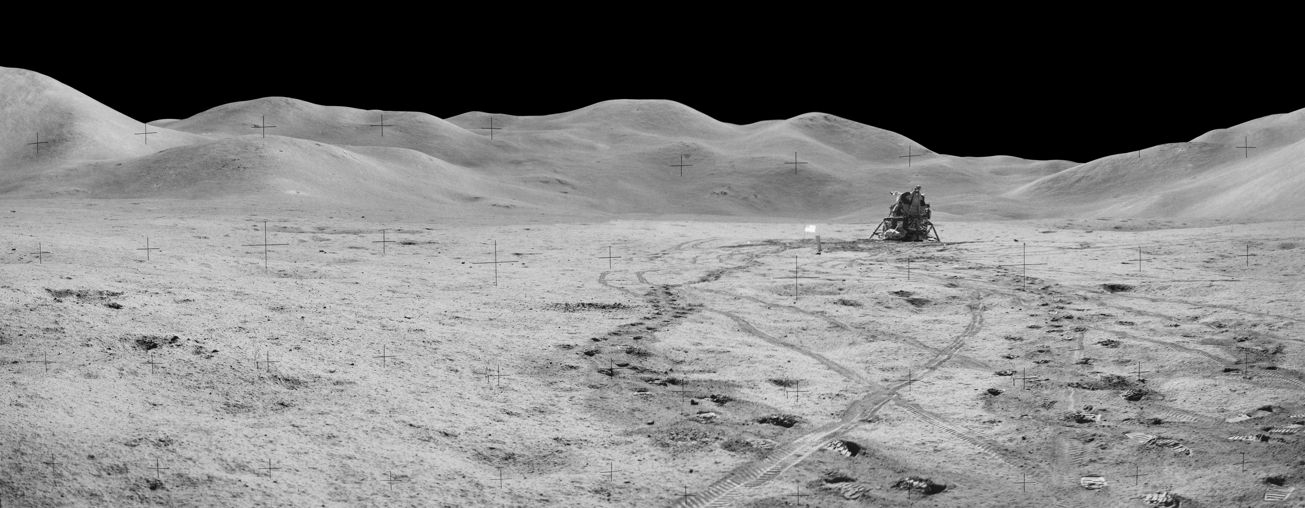 The leaning Falcon rests on on the lunar surface. Irwin took this photo at the start of the third EVA. Credit: NASA via Retro Space Images