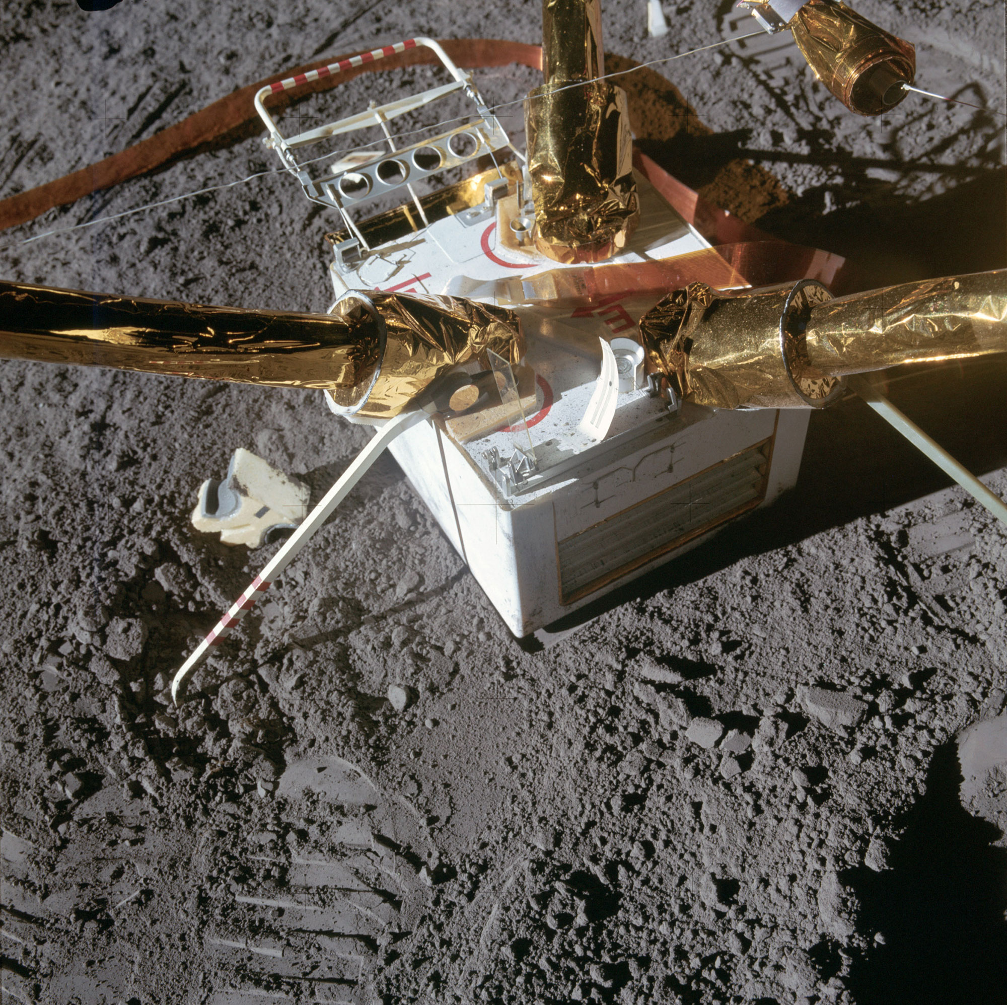 The Lunar Surface Magnetometer that was part of the mission's Apollo Lunar Surface Experiments Package. Credit: NASA via Retro Space Images