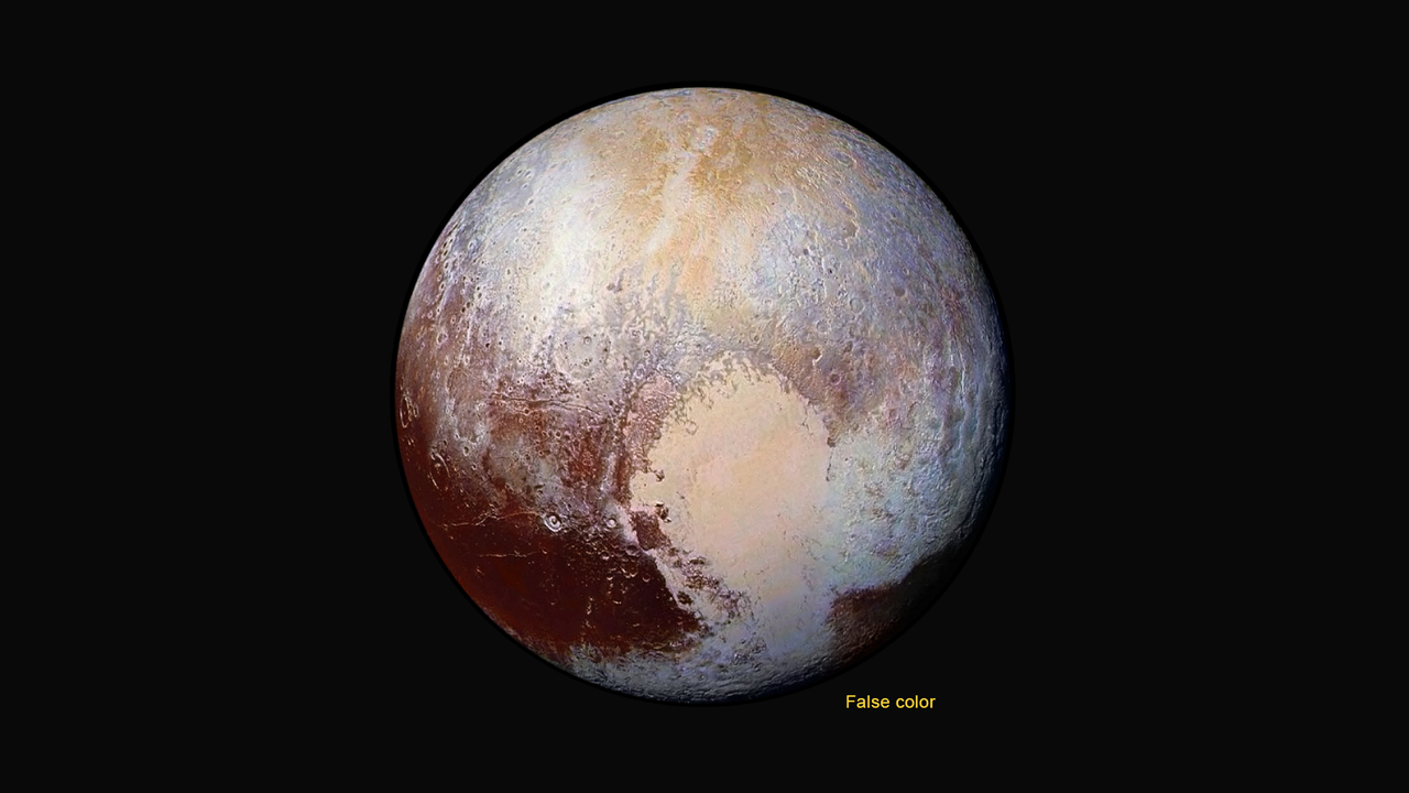 Four images from New Horizons' Long Range Reconnaissance Imager (LORRI) were combined with color data from the Ralph instrument to create this enhanced color global view of Pluto. (The lower right edge of Pluto in this view currently lacks high-resolution color coverage.) The images, taken when the spacecraft was 280,000 miles (450,000 kilometers) away, show features as small as 1.4 miles (2.2 kilometers), twice the resolution of the single-image view taken on July 13. Credit: NASA/JHUAPL/SwRI