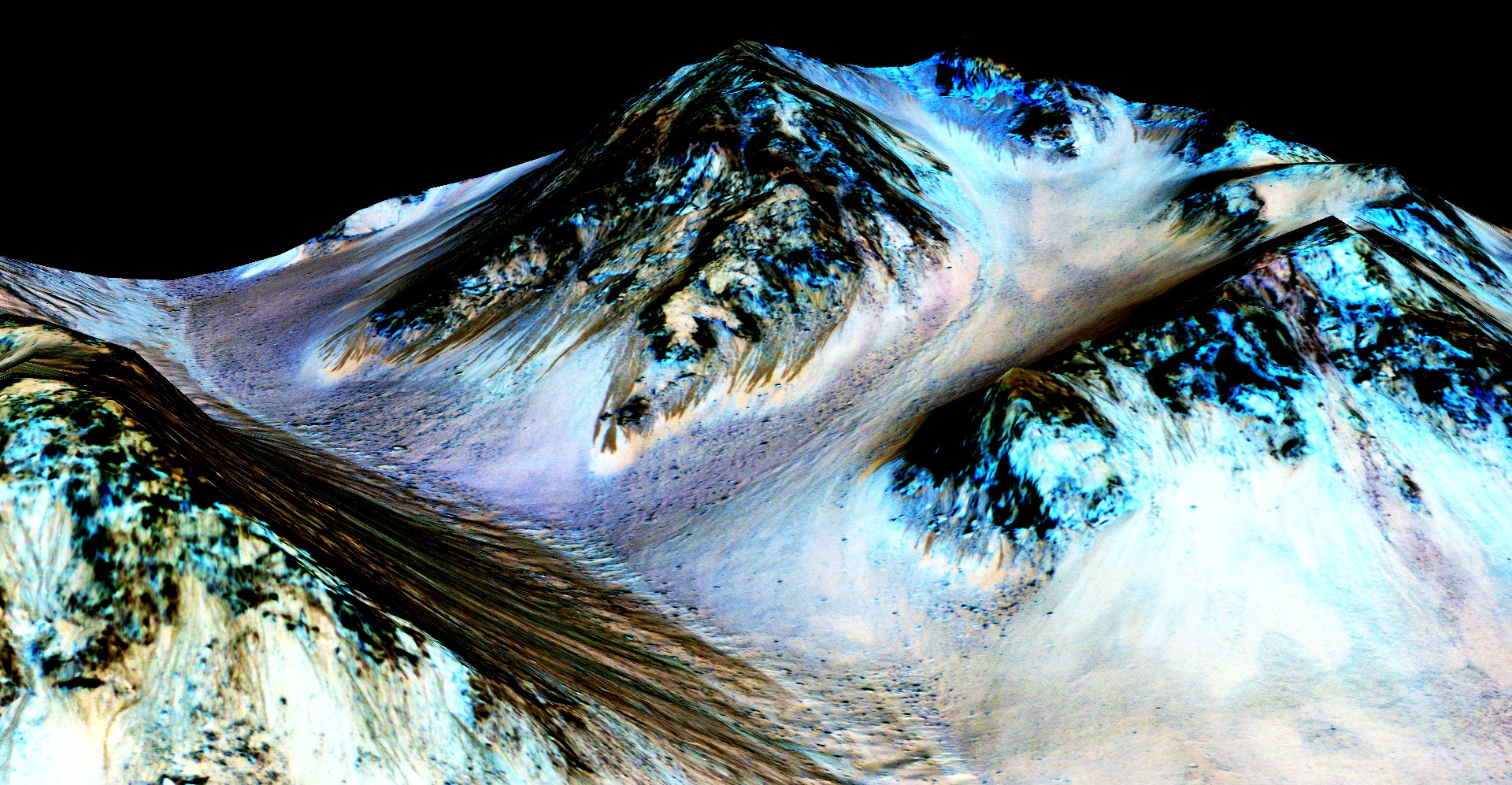 These dark, narrow, 100 meter-long streaks called recurring slope lineae flowing downhill on Mars are inferred to have been formed by contemporary flowing water. Recently, planetary scientists detected hydrated salts on these slopes at Hale crater, corroborating their original hypothesis that the streaks are indeed formed by liquid water. The blue color seen upslope of the dark streaks are thought not to be related to their formation, but instead are from the presence of the mineral pyroxene. Credit: NASA/JPL/University of Arizona