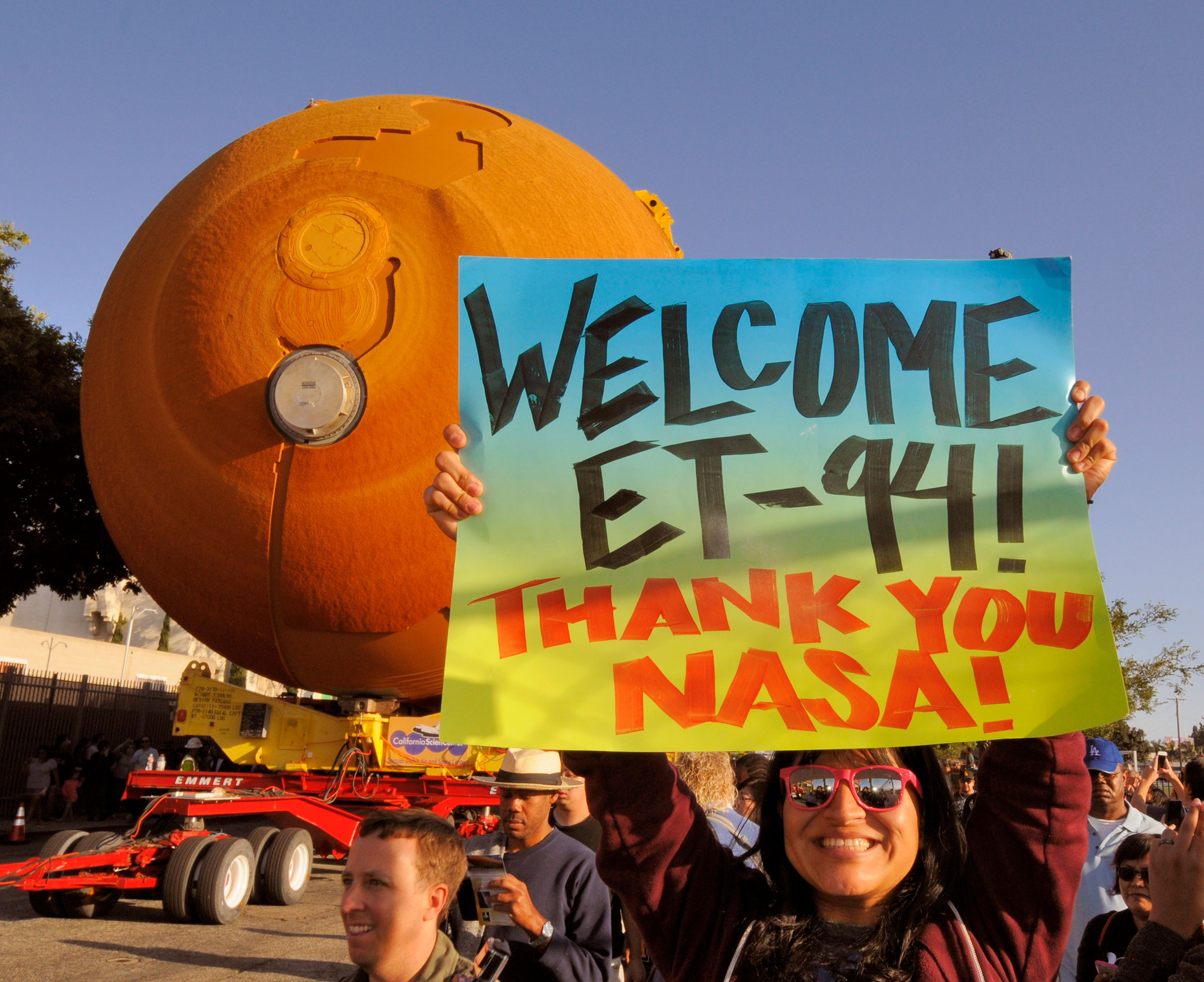 Crowds lined the 16-mile route as the last flight-ready Space Shuttle External Tank was paraded through the streets of Los Angeles earlier this year. Credit: Julian Leek/JNN