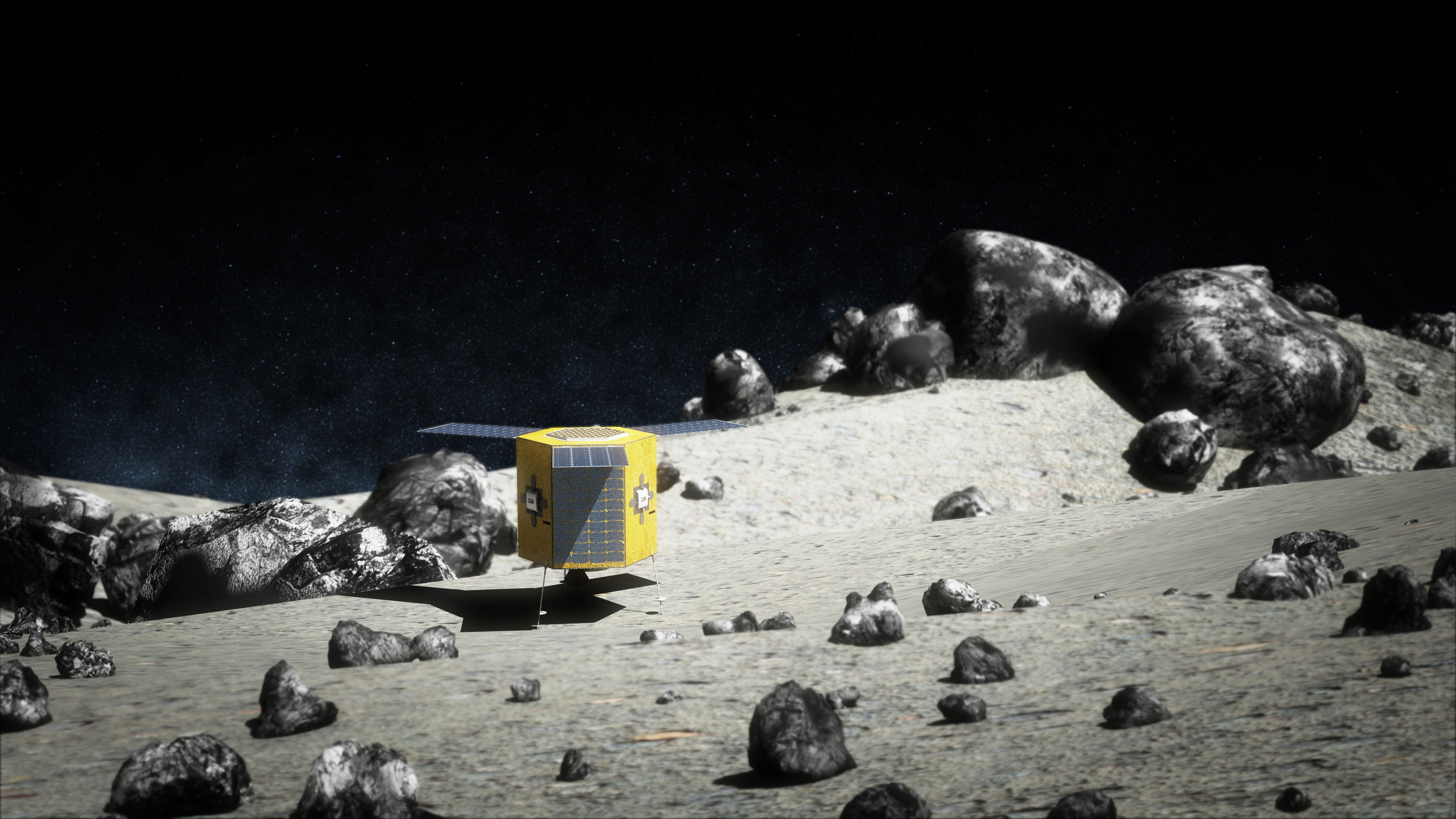 Artist's illustration of DSi Prospector-1 on the surface of an asteroid. Credit: Deep Space Industries