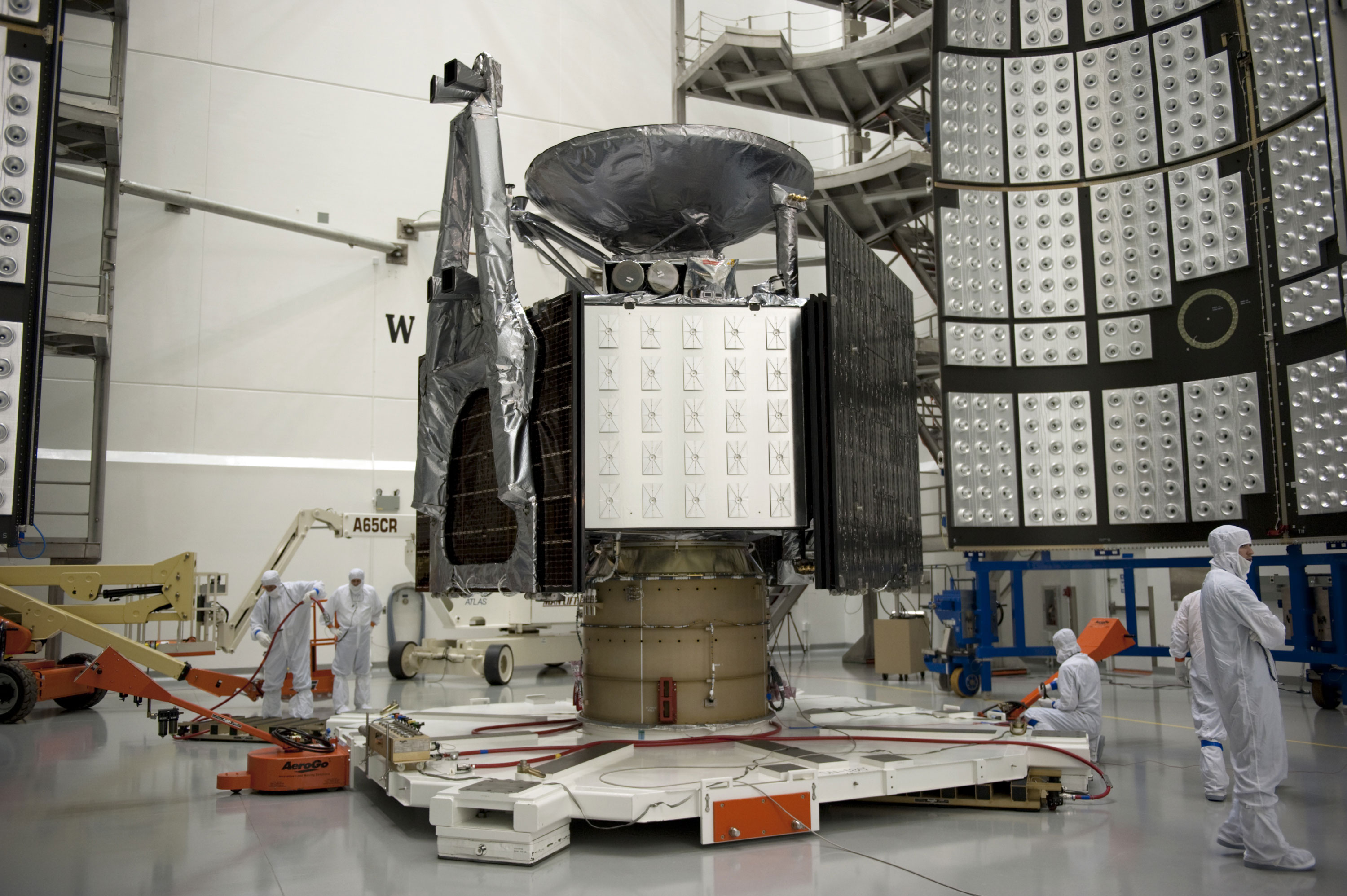 The largest of Juno's six MWR antennas (shown here) takes up a full side of the spacecraft. Credit: NASA
