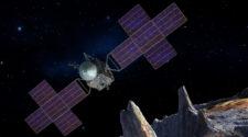 NASA spacecraft arrival at Pysche asteroid artwork