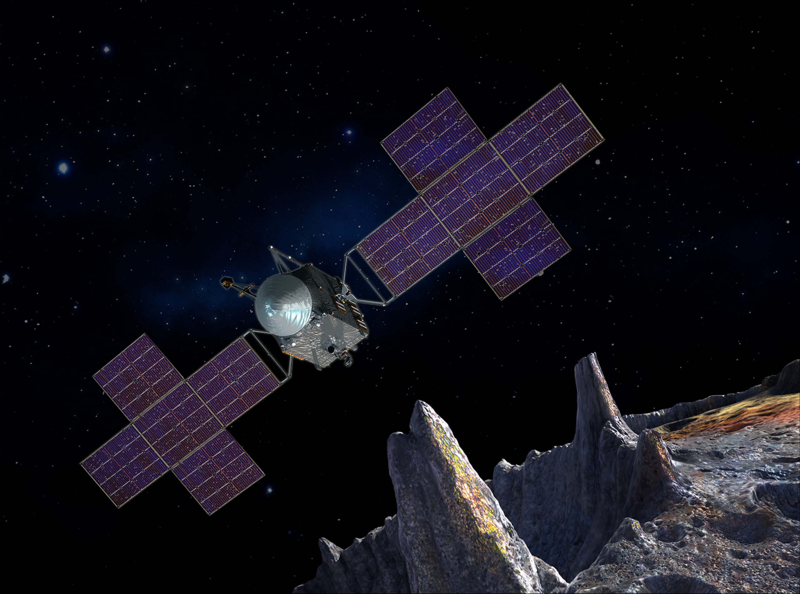 NASA spacecraft arrival at Pysche asteroid artwork