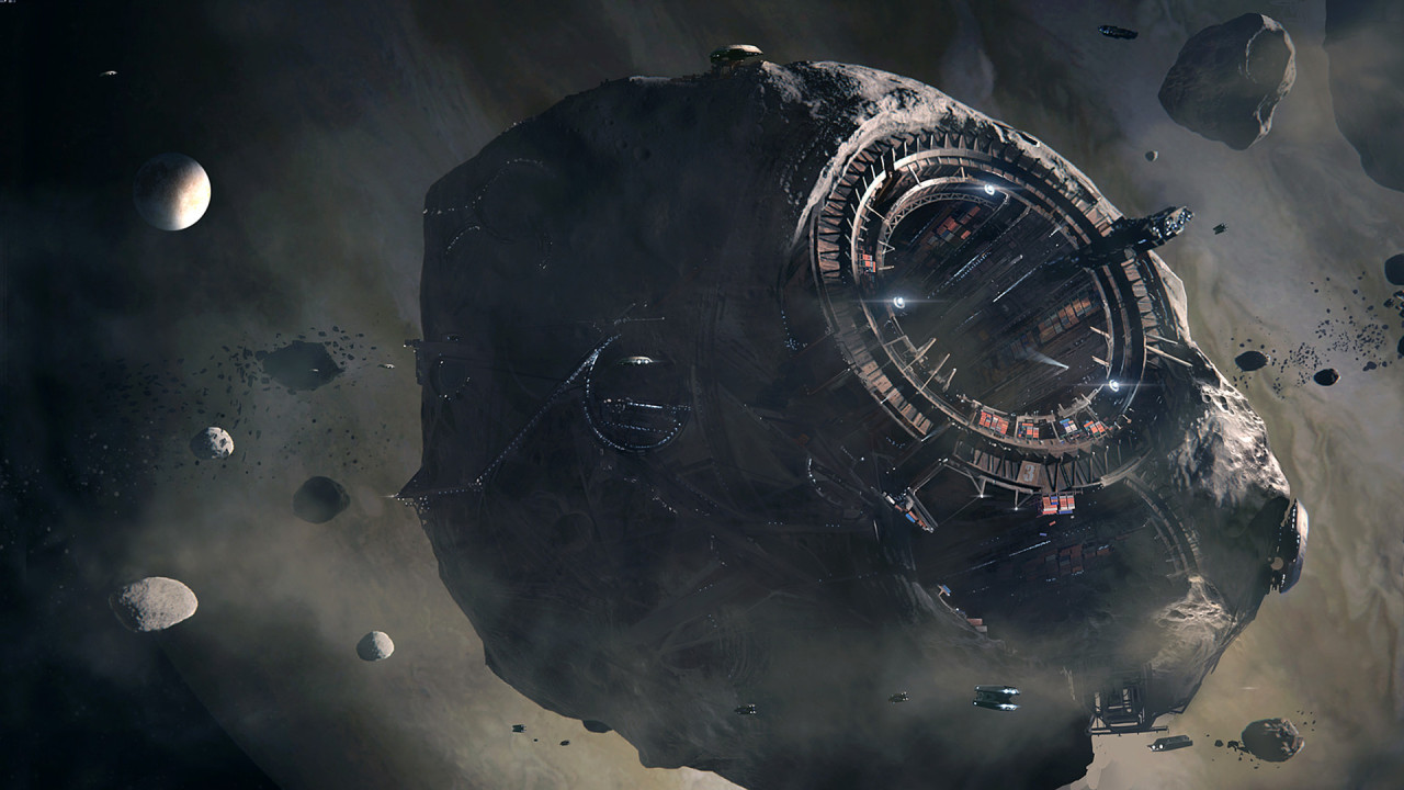 futuristic asteroid mining operation